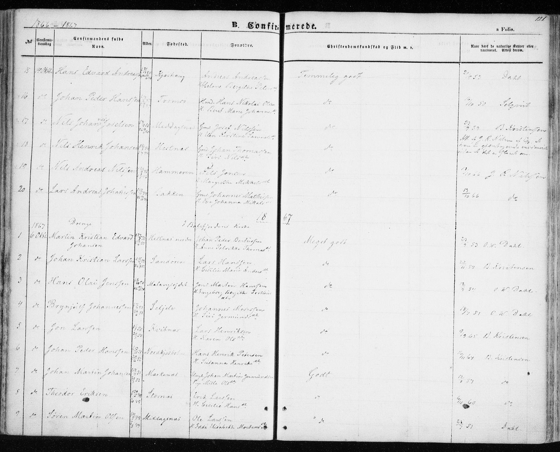 SATØ, Balsfjord sokneprestembete, Ministerialbok nr. 3, 1856-1870, s. 121