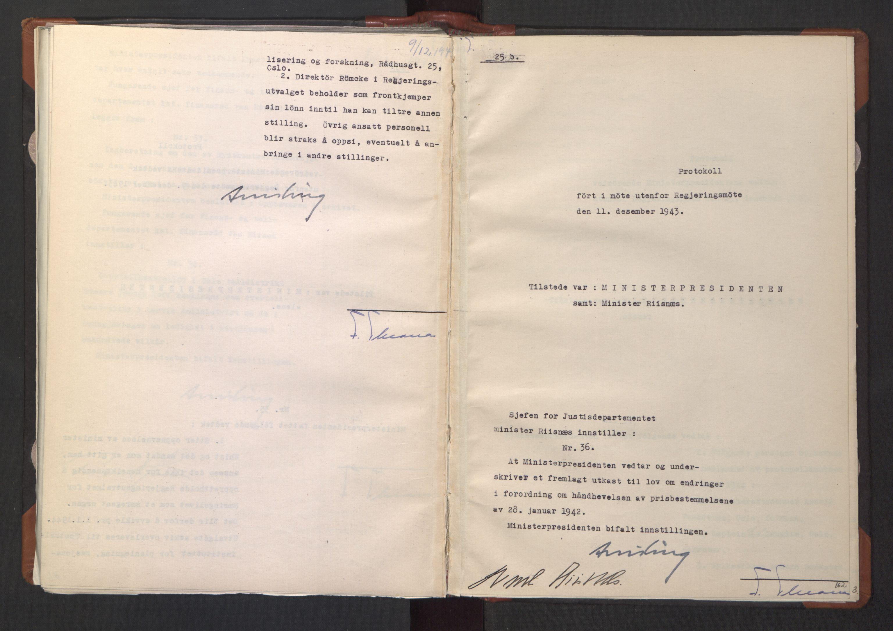 RA, NS-administrasjonen 1940-1945 (Statsrådsekretariatet, de kommisariske statsråder mm), D/Da/L0003: Vedtak (Beslutninger) nr. 1-746 og tillegg nr. 1-47 (RA. j.nr. 1394/1944, tilgangsnr. 8/1944, 1943, s. 161b-162a