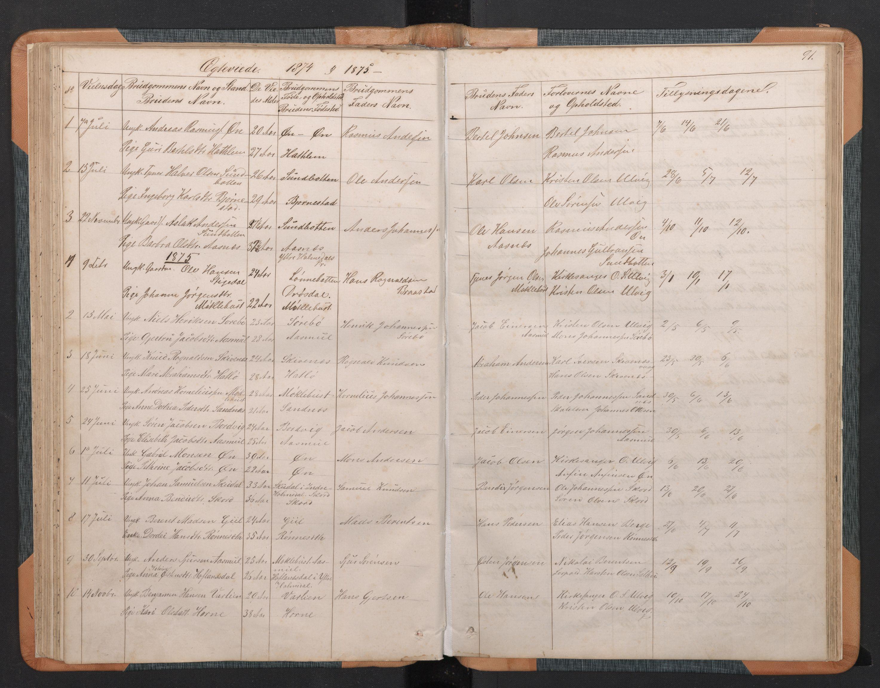 SAB, Hyllestad Sokneprestembete, Klokkerbok nr. C 2, 1874-1894, s. 90b-91a