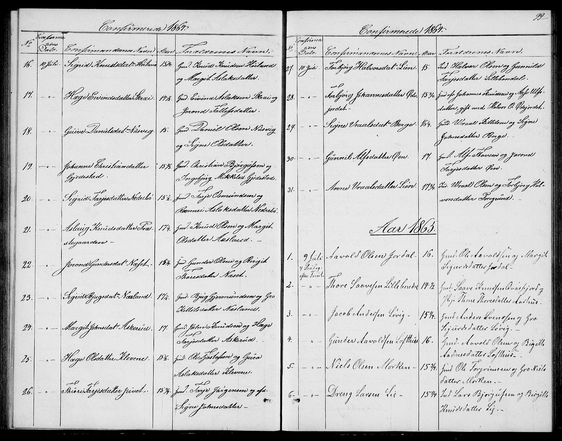 SAKO, Fyresdal kirkebøker, G/Ga/L0004: Klokkerbok nr. I 4, 1864-1892, s. 99