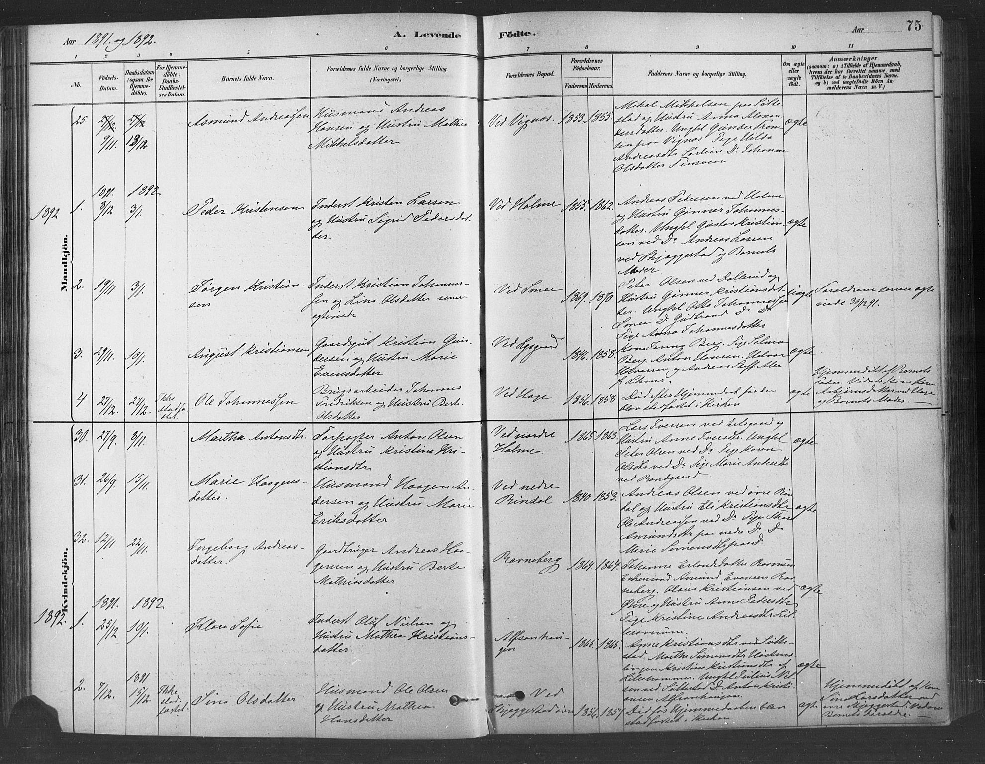 SAH, Fåberg prestekontor, Ministerialbok nr. 9, 1879-1898, s. 75
