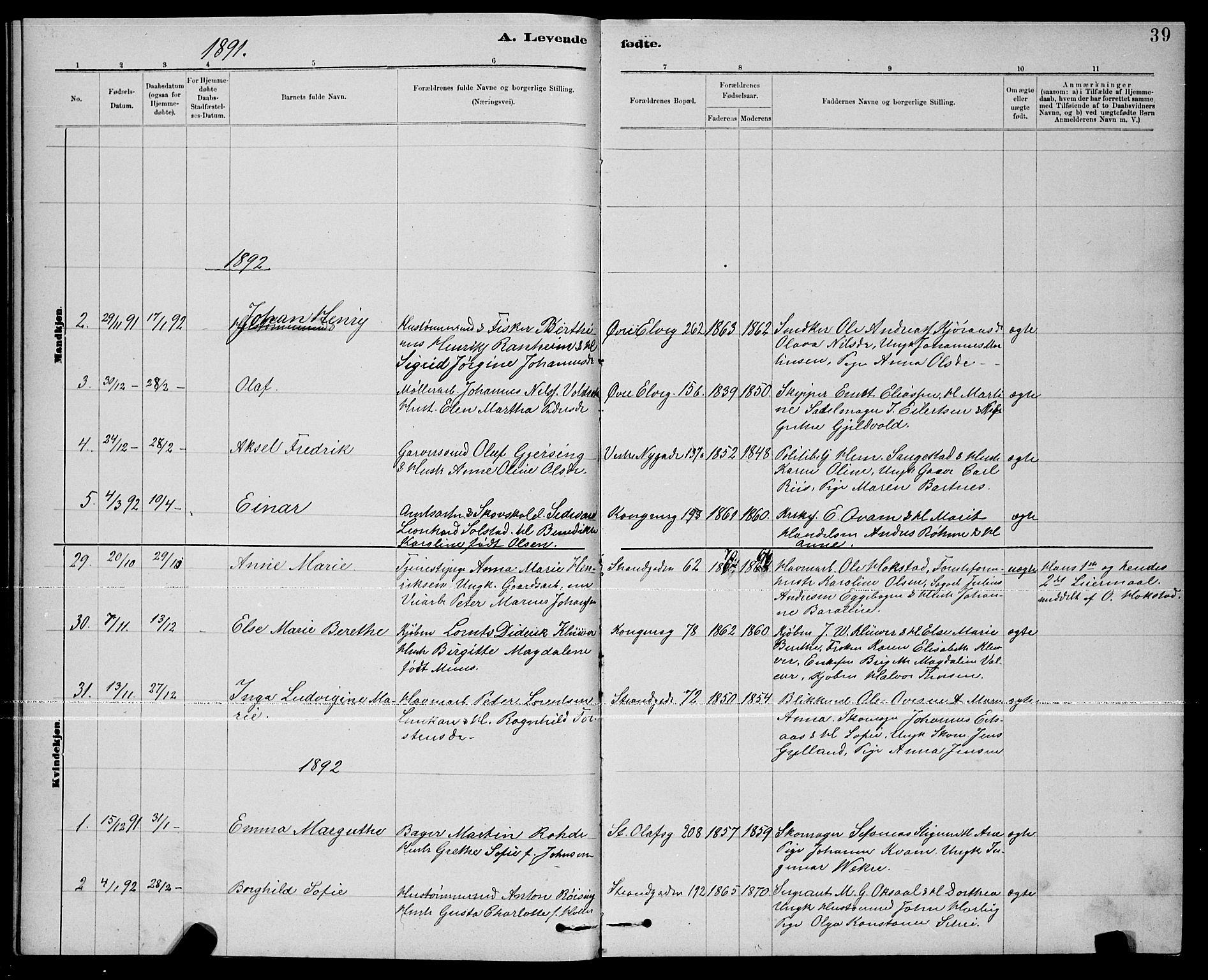 SAT, Ministerialprotokoller, klokkerbøker og fødselsregistre - Nord-Trøndelag, 739/L0374: Klokkerbok nr. 739C02, 1883-1898, s. 39