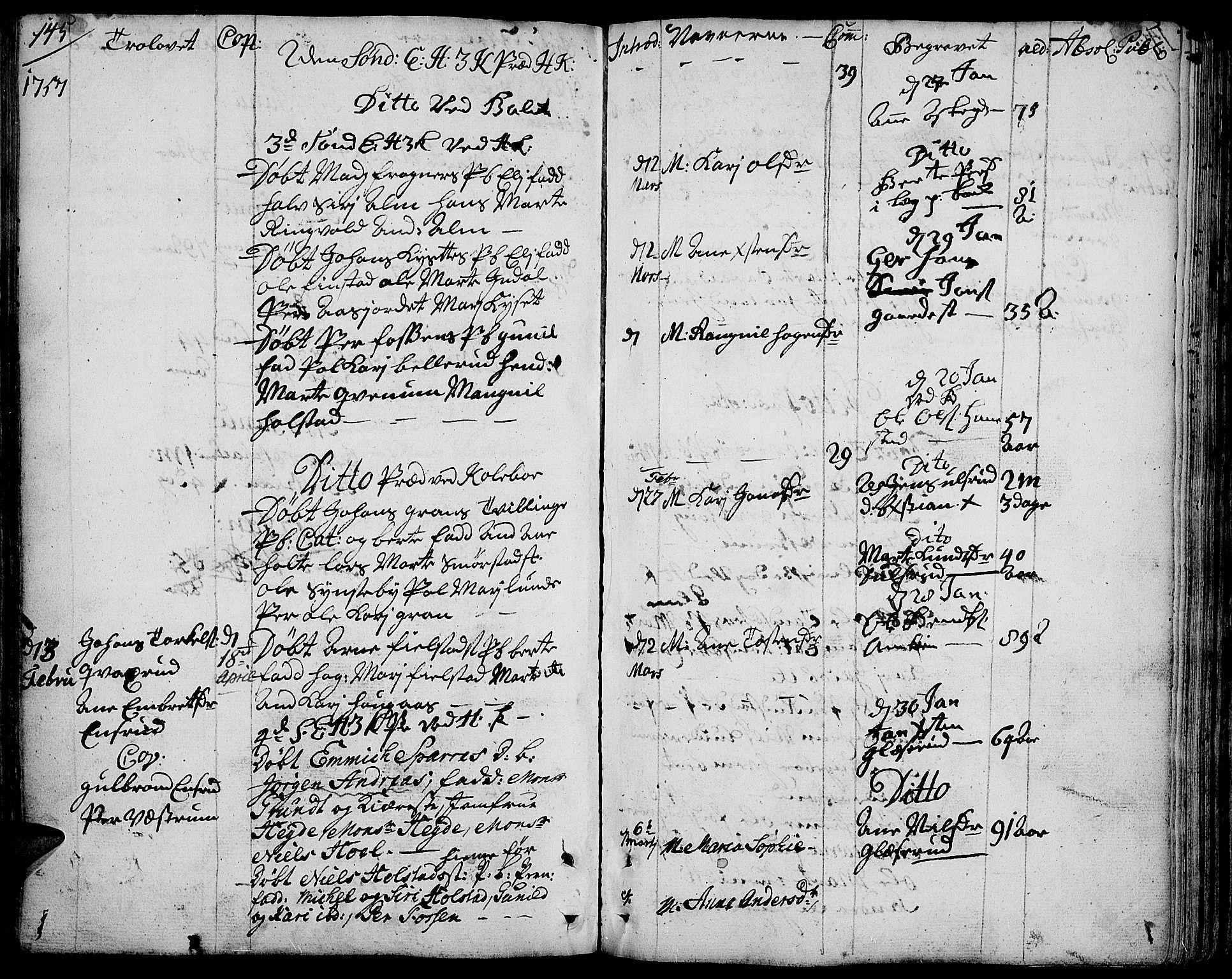 SAH, Toten prestekontor, Ministerialbok nr. 4, 1751-1761, s. 145