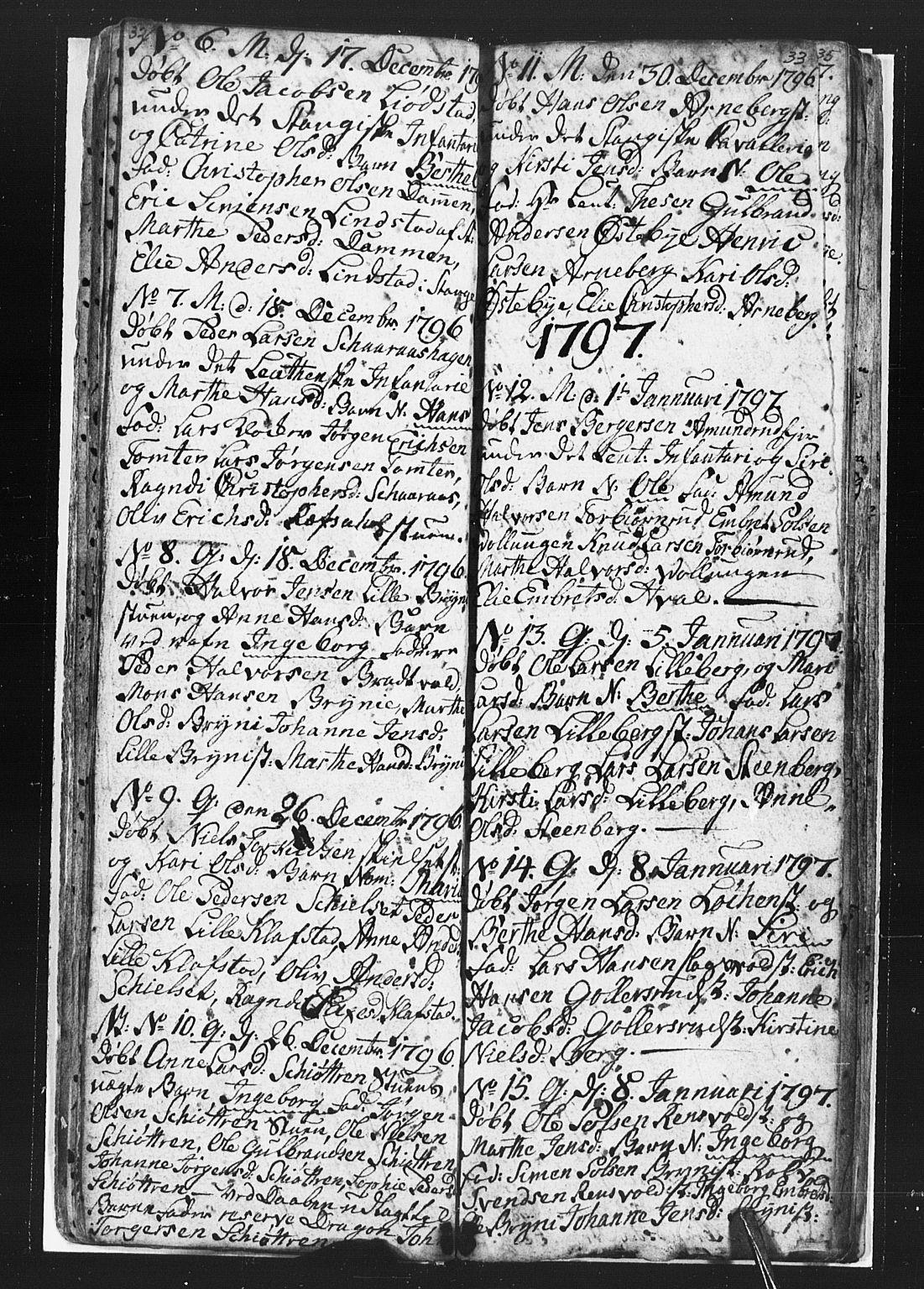 SAH, Romedal prestekontor, L/L0002: Klokkerbok nr. 2, 1795-1800, s. 32-33