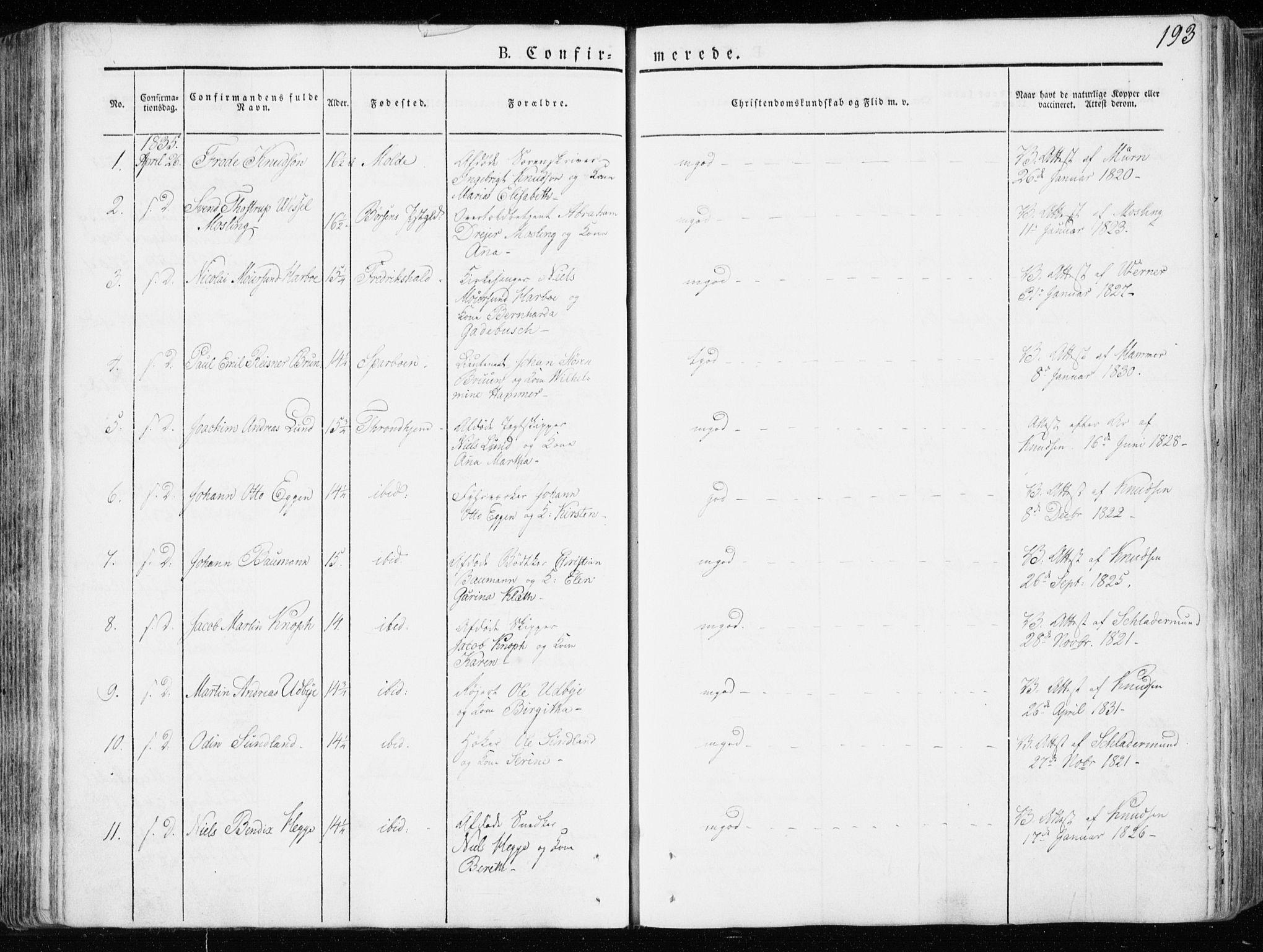 SAT, Ministerialprotokoller, klokkerbøker og fødselsregistre - Sør-Trøndelag, 601/L0047: Ministerialbok nr. 601A15, 1831-1839, s. 193