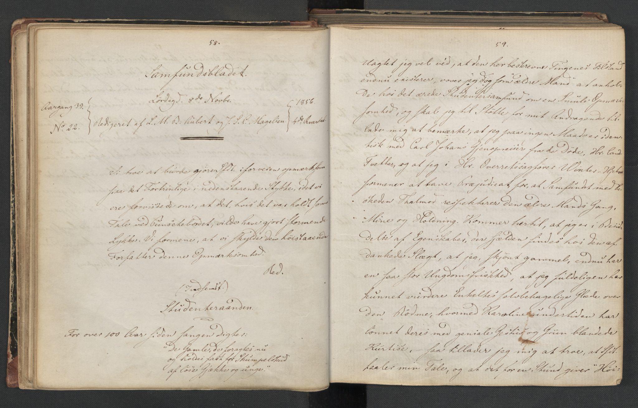 RA, Det Norske Studentersamfund, X/Xa/L0006, 1856-1857, s. 33