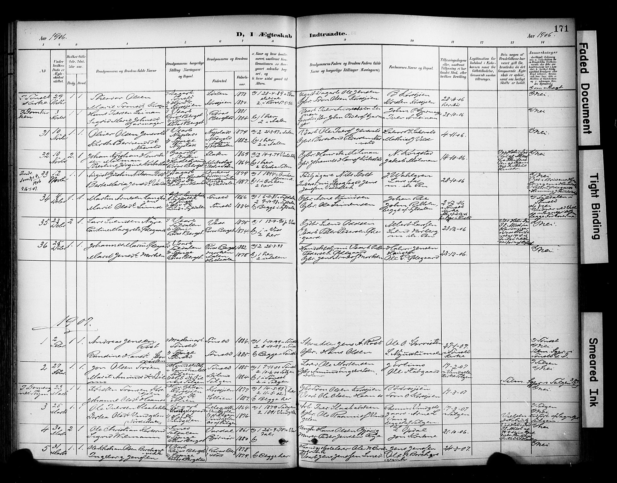 SAT, Ministerialprotokoller, klokkerbøker og fødselsregistre - Sør-Trøndelag, 681/L0936: Ministerialbok nr. 681A14, 1899-1908, s. 171