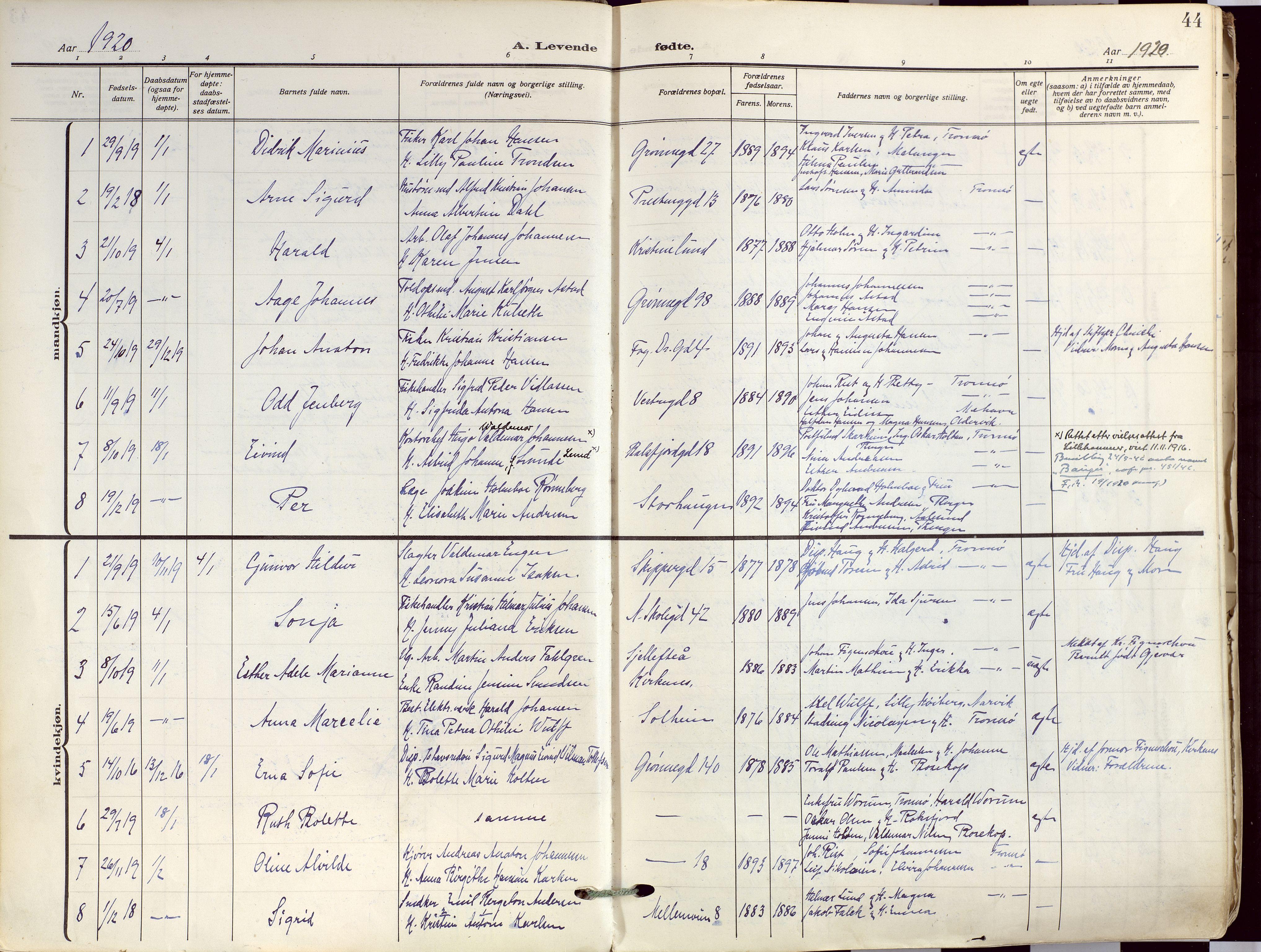 SATØ, Tromsø sokneprestkontor/stiftsprosti/domprosti, G/Ga/L0019kirke: Ministerialbok nr. 19, 1917-1927, s. 44