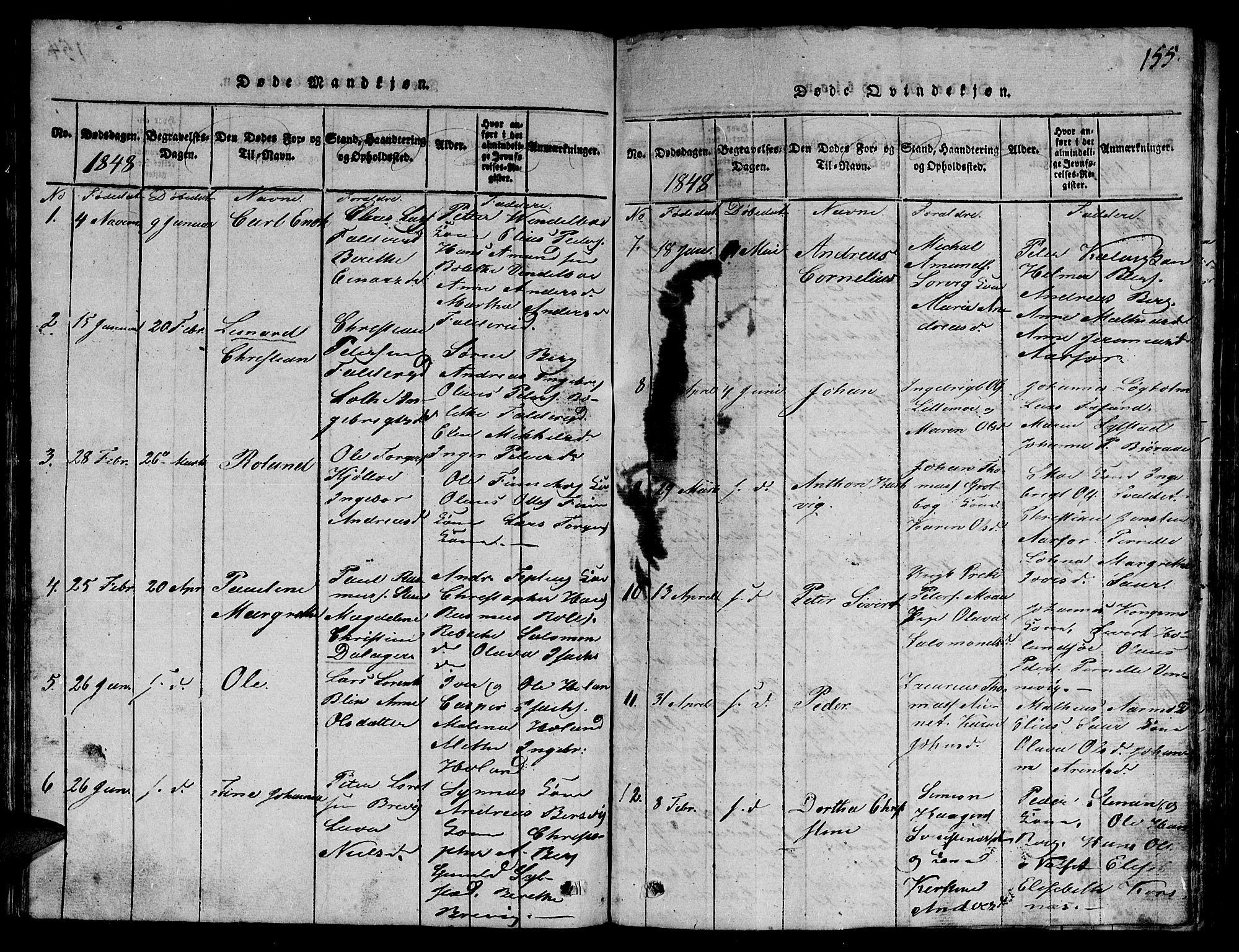 SAT, Ministerialprotokoller, klokkerbøker og fødselsregistre - Nord-Trøndelag, 780/L0648: Klokkerbok nr. 780C01 /3, 1815-1877, s. 155