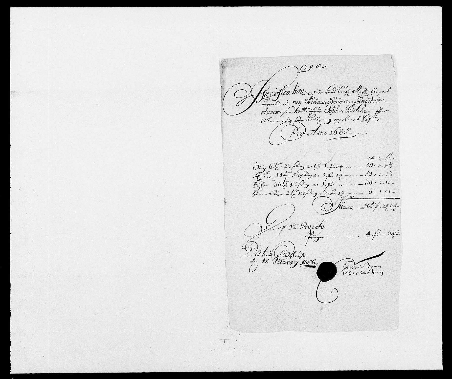 RA, Rentekammeret inntil 1814, Reviderte regnskaper, Fogderegnskap, R01/L0006: Fogderegnskap Idd og Marker, 1685-1686, s. 174