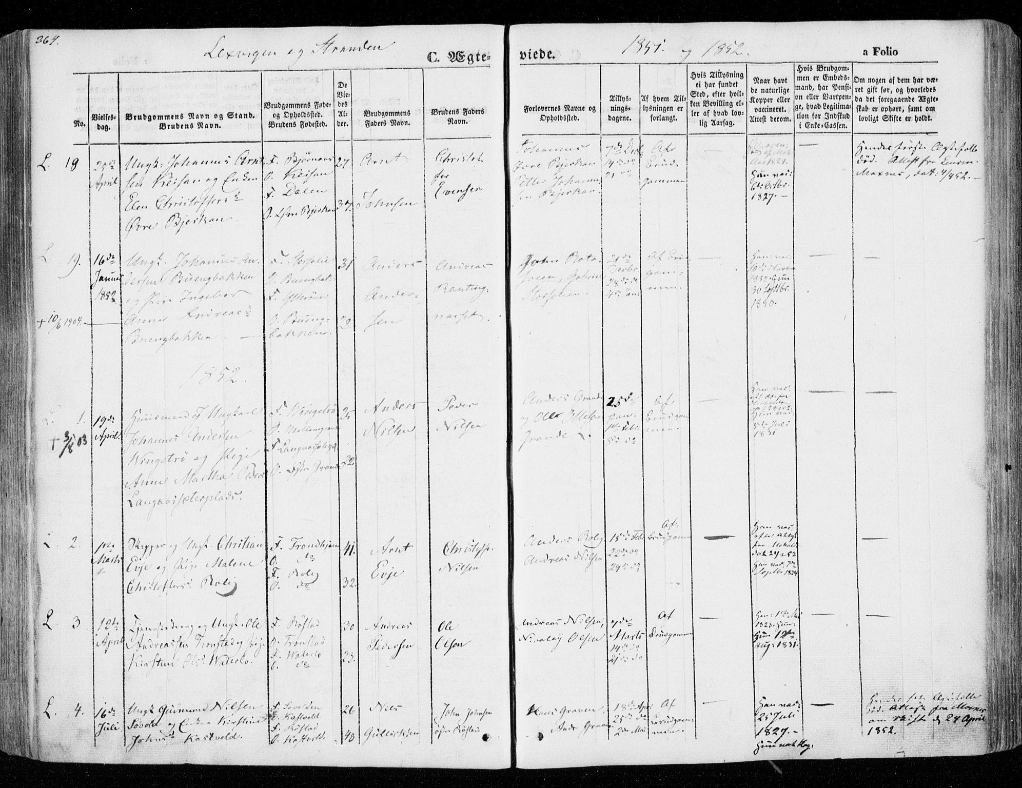 SAT, Ministerialprotokoller, klokkerbøker og fødselsregistre - Nord-Trøndelag, 701/L0007: Ministerialbok nr. 701A07 /1, 1842-1854, s. 264