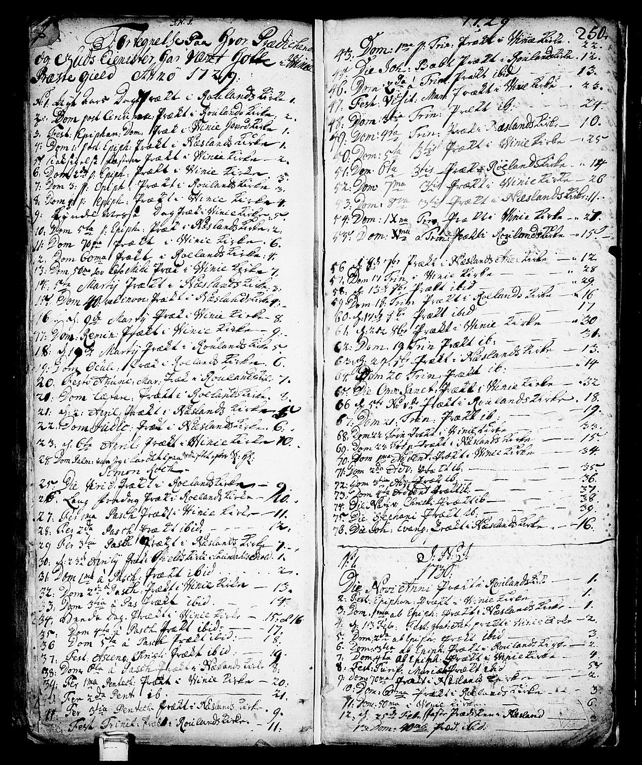 SAKO, Vinje kirkebøker, F/Fa/L0001: Ministerialbok nr. I 1, 1717-1766, s. 250