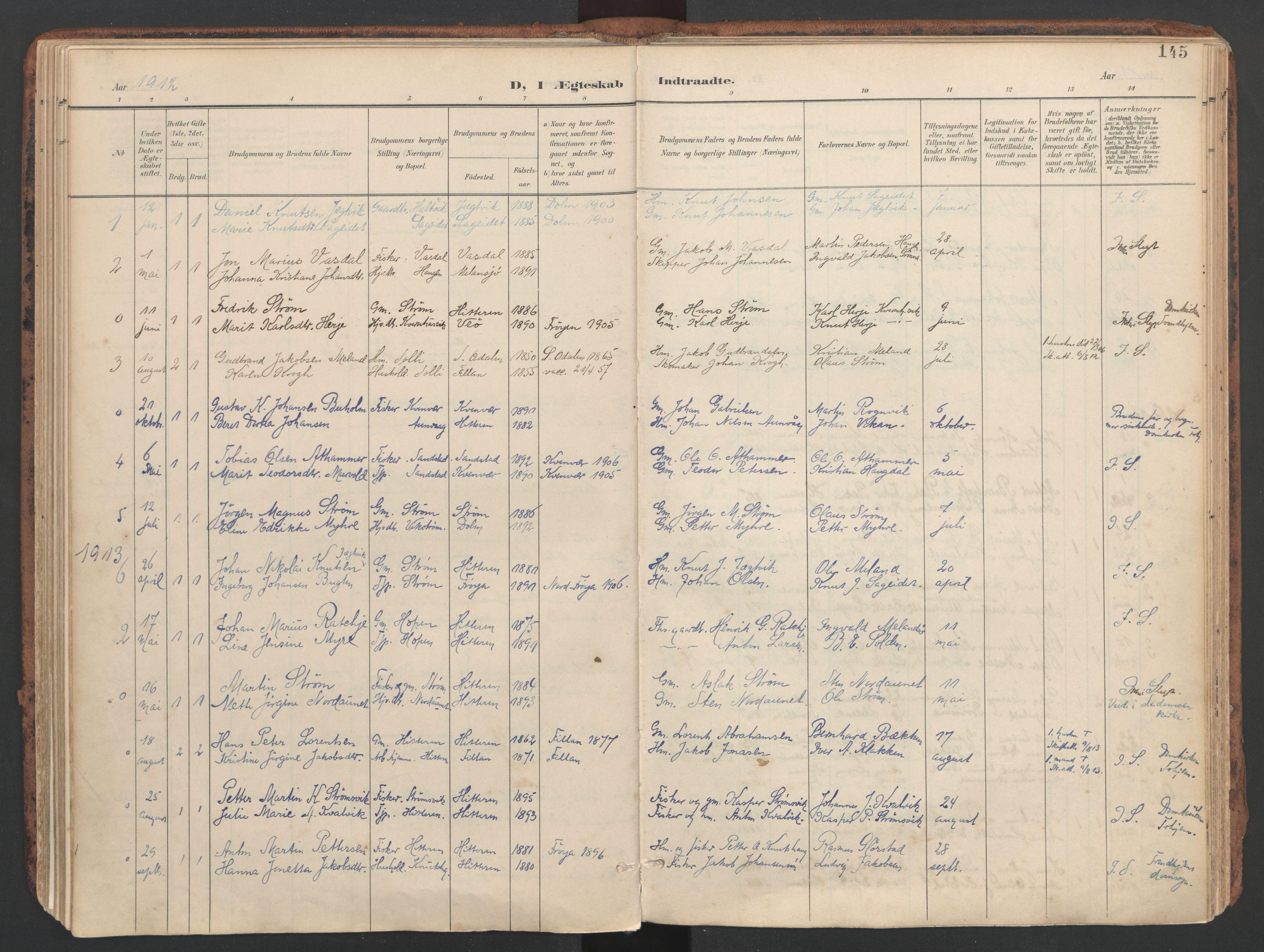 SAT, Ministerialprotokoller, klokkerbøker og fødselsregistre - Sør-Trøndelag, 634/L0537: Ministerialbok nr. 634A13, 1896-1922, s. 145