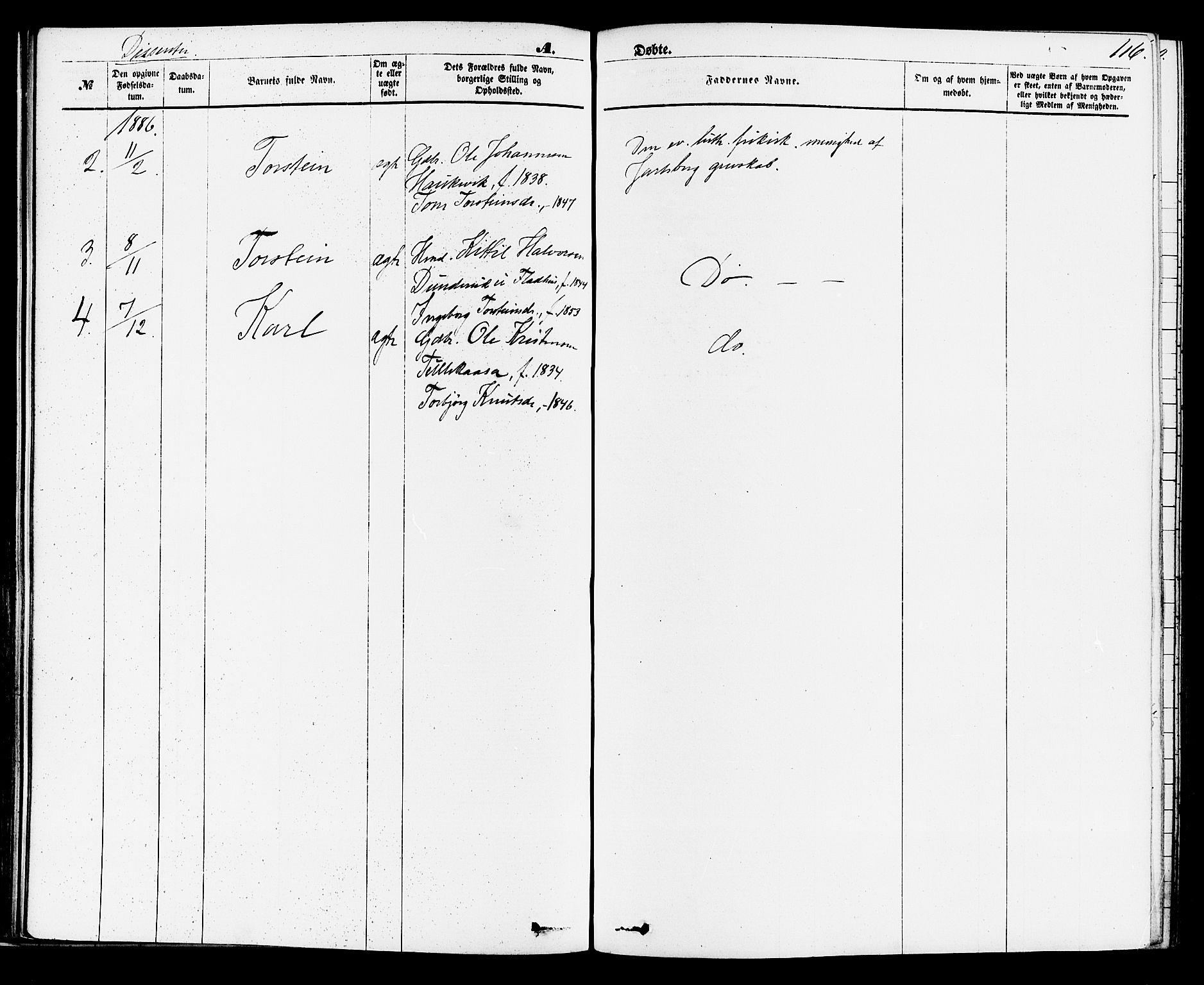 SAKO, Sauherad kirkebøker, F/Fa/L0008: Ministerialbok nr. I 8, 1873-1886, s. 116