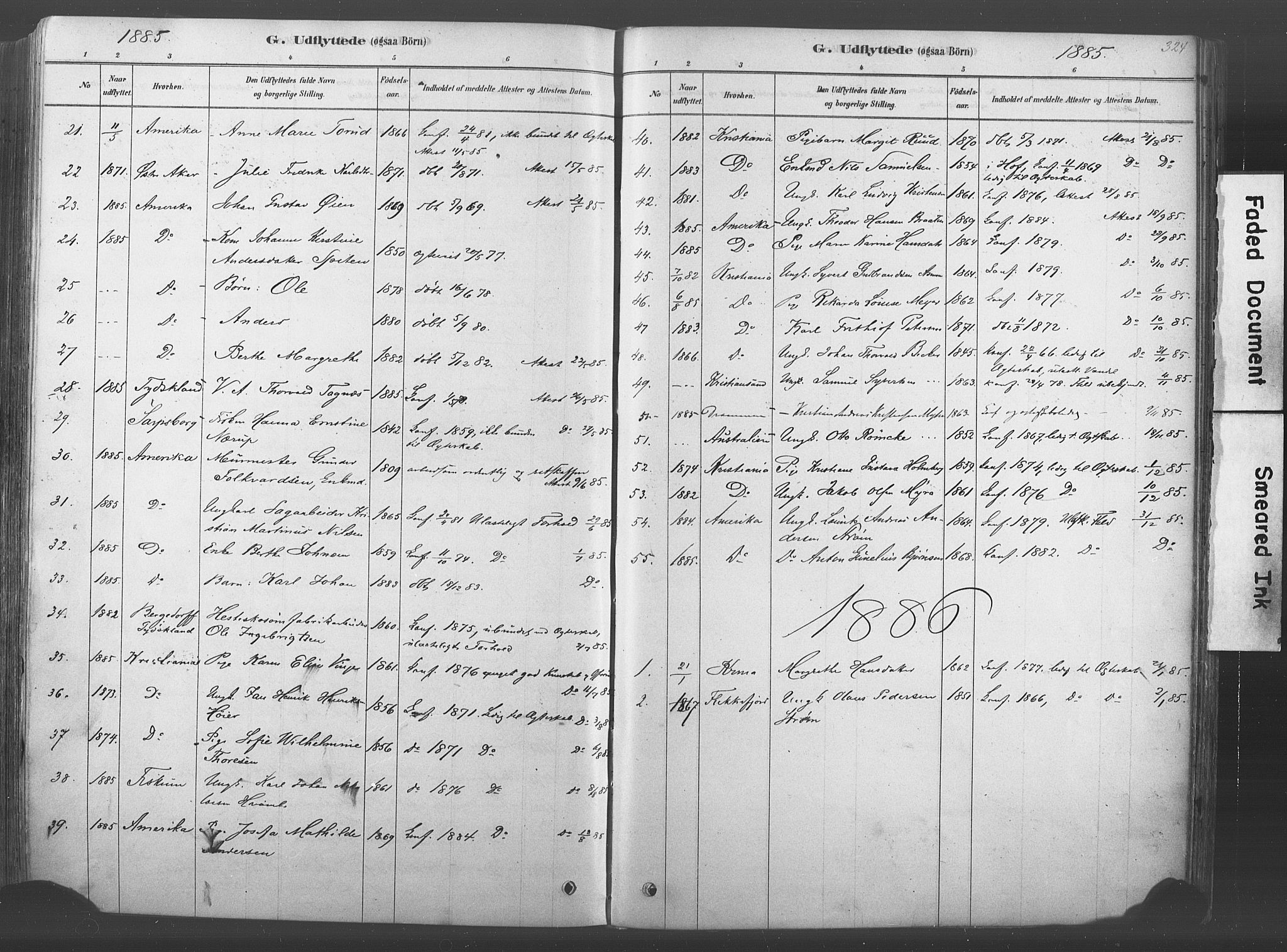 SAKO, Kongsberg kirkebøker, F/Fb/L0001: Ministerialbok nr. II 1, 1878-1886, s. 324