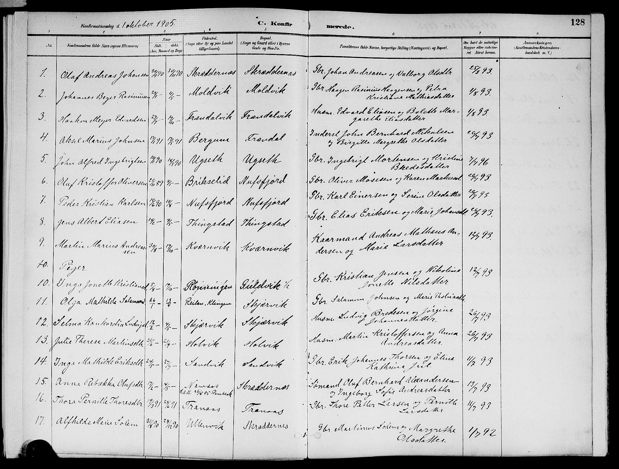 SAT, Ministerialprotokoller, klokkerbøker og fødselsregistre - Nord-Trøndelag, 773/L0617: Ministerialbok nr. 773A08, 1887-1910, s. 128