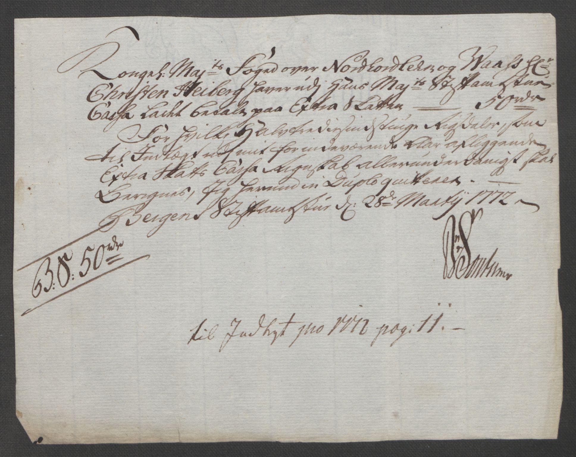 RA, Rentekammeret inntil 1814, Reviderte regnskaper, Fogderegnskap, R51/L3303: Ekstraskatten Nordhordland og Voss, 1762-1772, s. 678