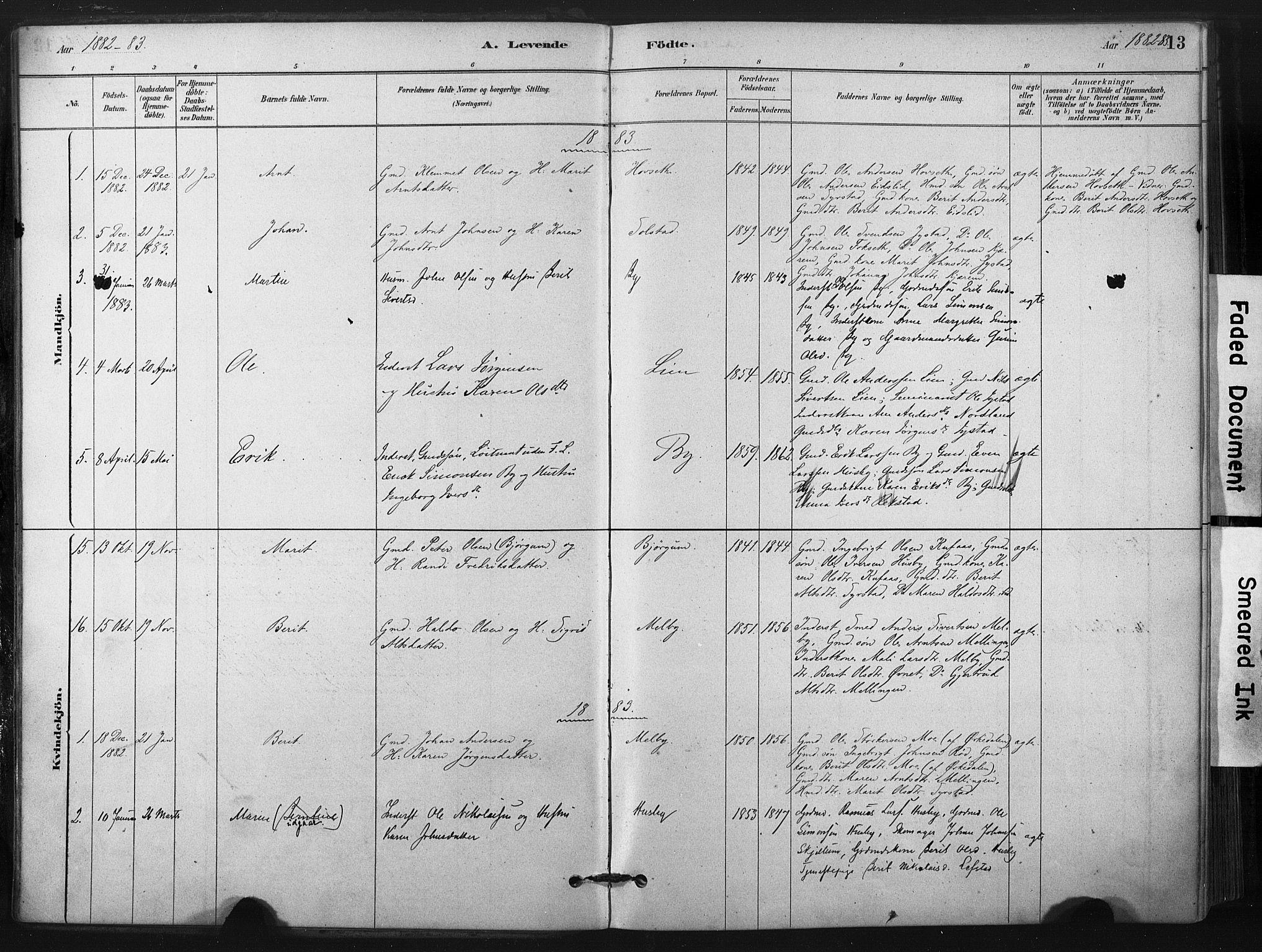 SAT, Ministerialprotokoller, klokkerbøker og fødselsregistre - Sør-Trøndelag, 667/L0795: Ministerialbok nr. 667A03, 1879-1907, s. 13
