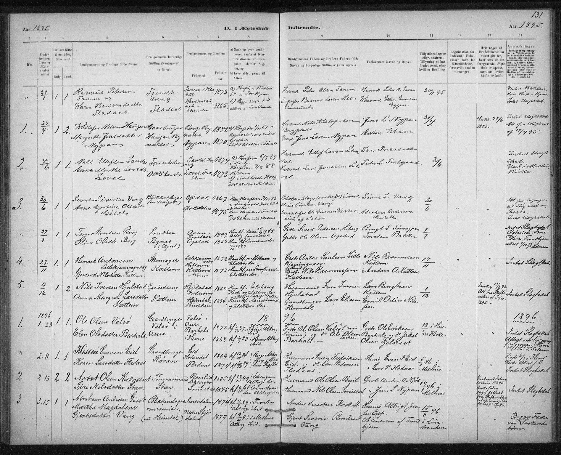 SAT, Ministerialprotokoller, klokkerbøker og fødselsregistre - Sør-Trøndelag, 613/L0392: Ministerialbok nr. 613A01, 1887-1906, s. 131