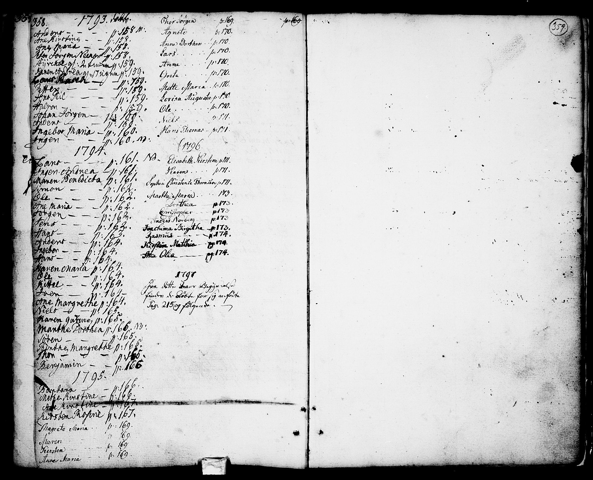 SAKO, Porsgrunn kirkebøker , F/Fa/L0001: Ministerialbok nr. 1, 1764-1814, s. 358-359