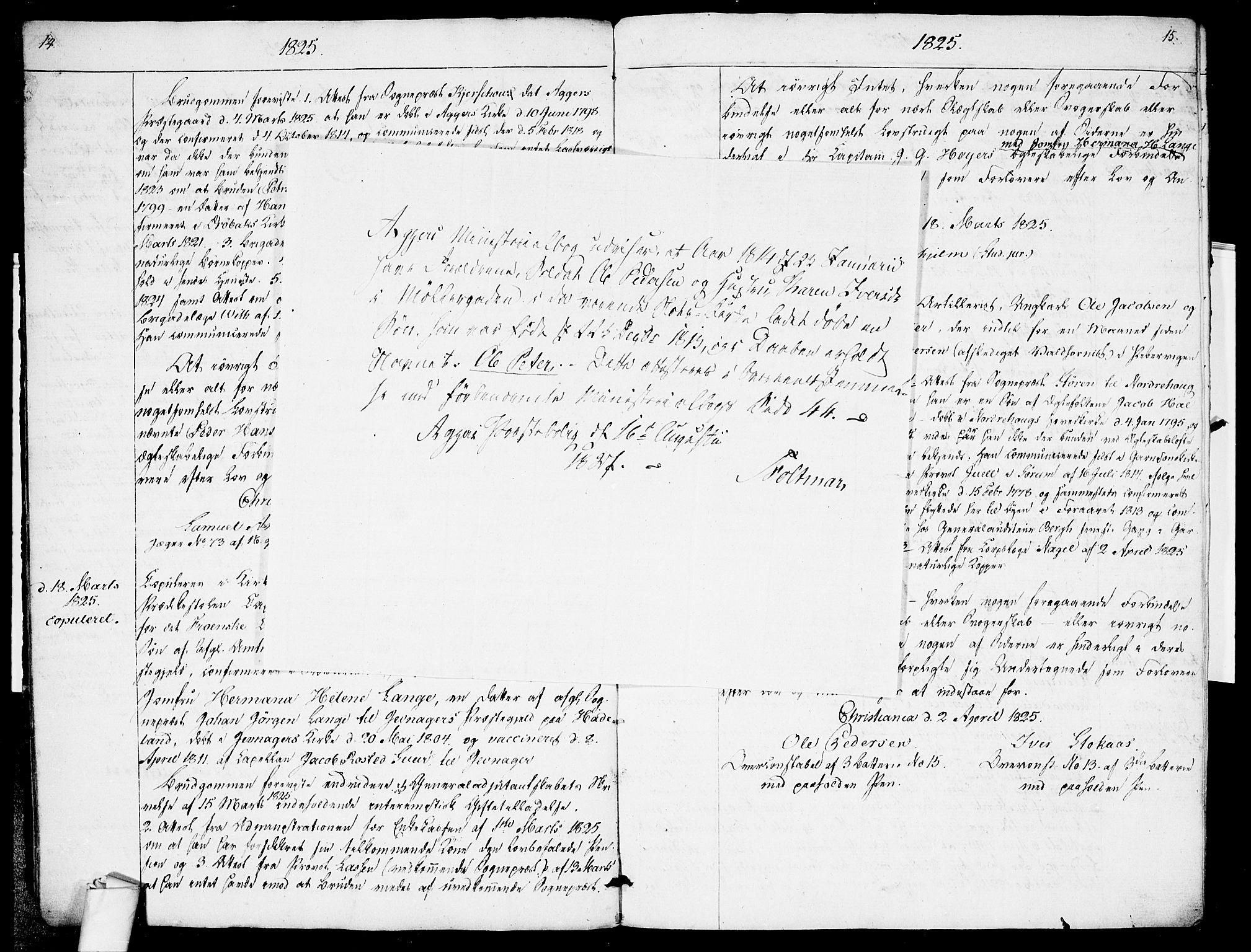 SAO, Garnisonsmenigheten Kirkebøker, H/Ha/L0001: Lysningsprotokoll nr. I 1, 1823-1828, s. 14-15