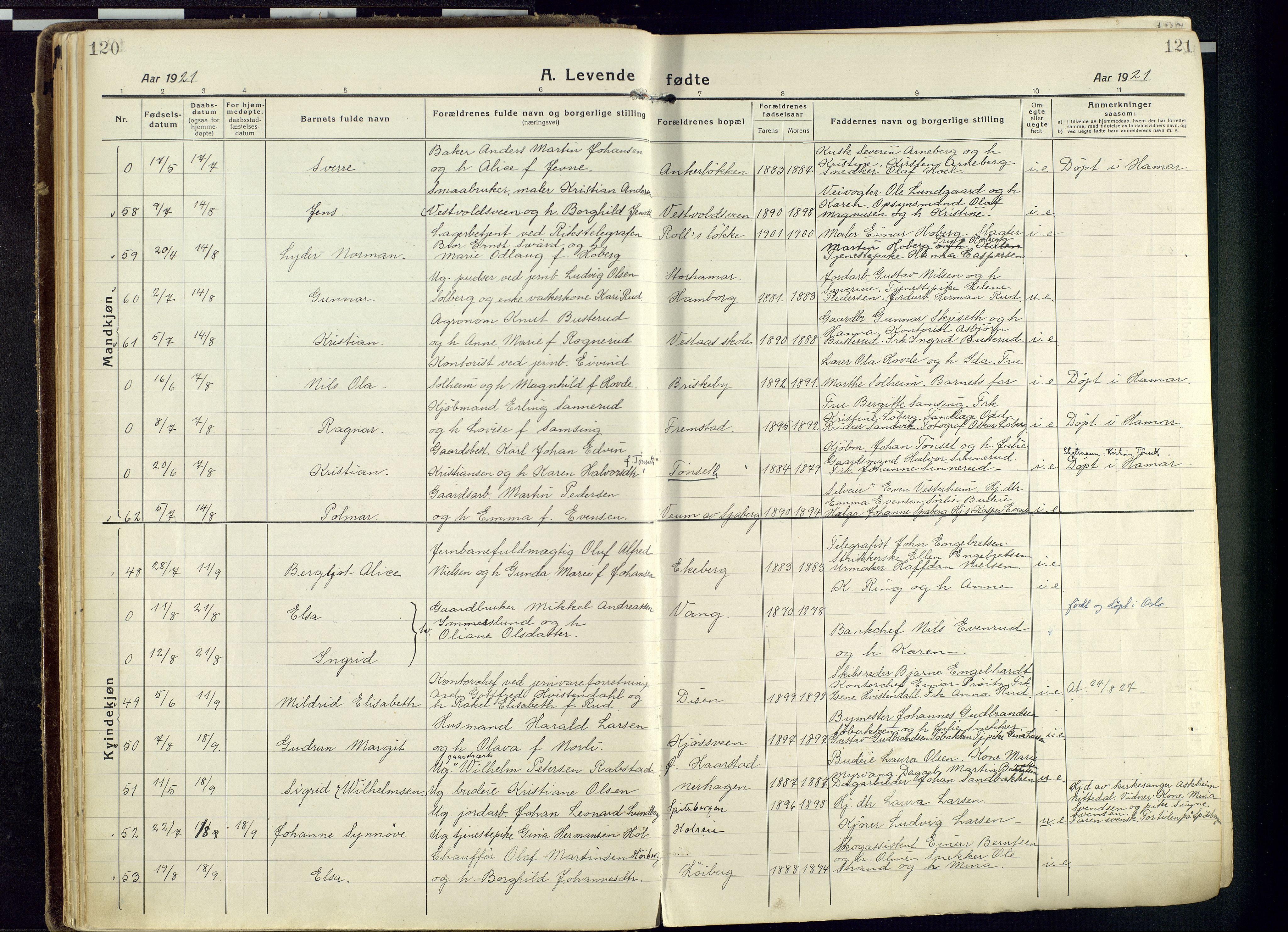 SAH, Vang prestekontor, Hedmark, H/Ha/Haa/L0022: Ministerialbok nr. 22, 1918-1944, s. 120-121