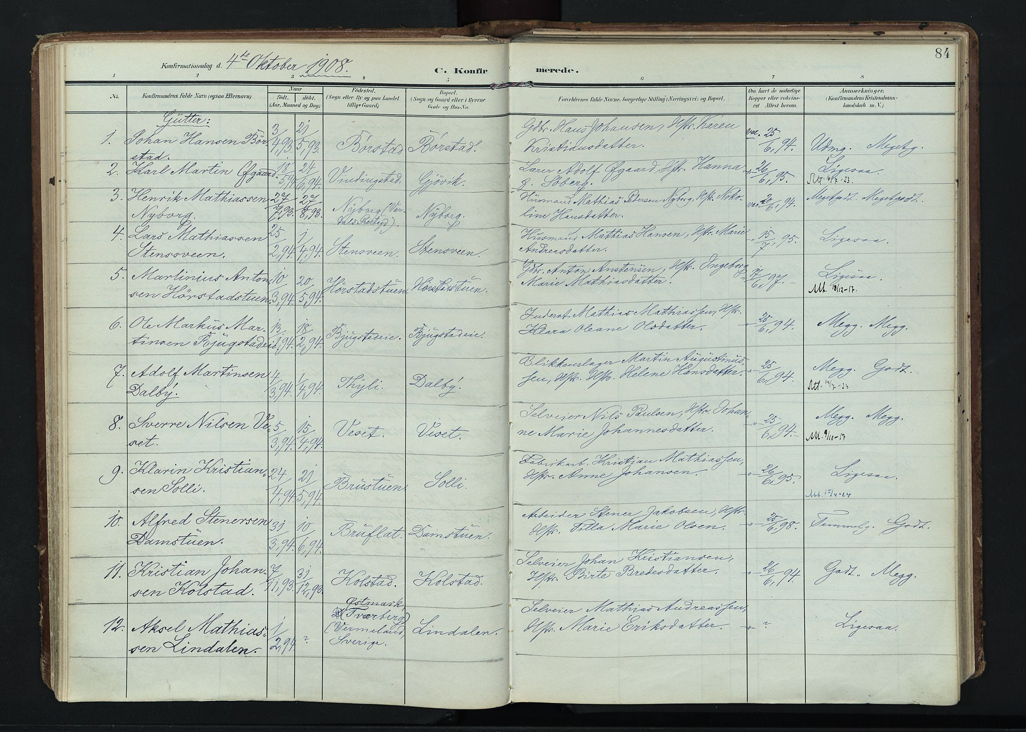 SAH, Vardal prestekontor, H/Ha/Haa/L0020: Ministerialbok nr. 20, 1907-1921, s. 84