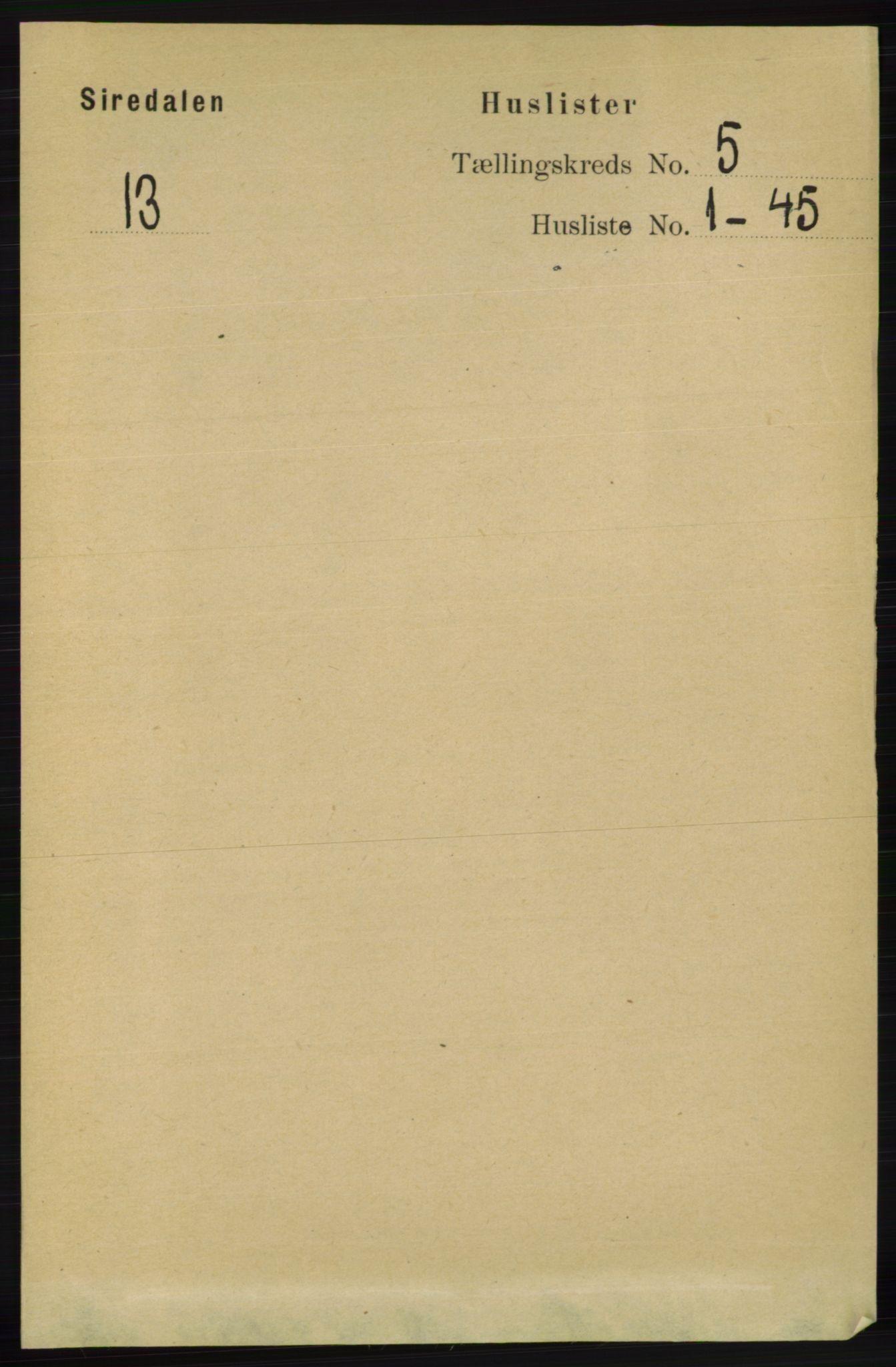 RA, Folketelling 1891 for 1046 Sirdal herred, 1891, s. 1256