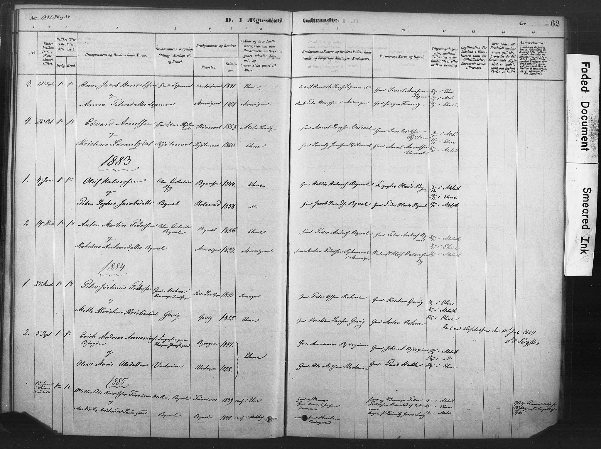 SAT, Ministerialprotokoller, klokkerbøker og fødselsregistre - Nord-Trøndelag, 719/L0178: Ministerialbok nr. 719A01, 1878-1900, s. 62