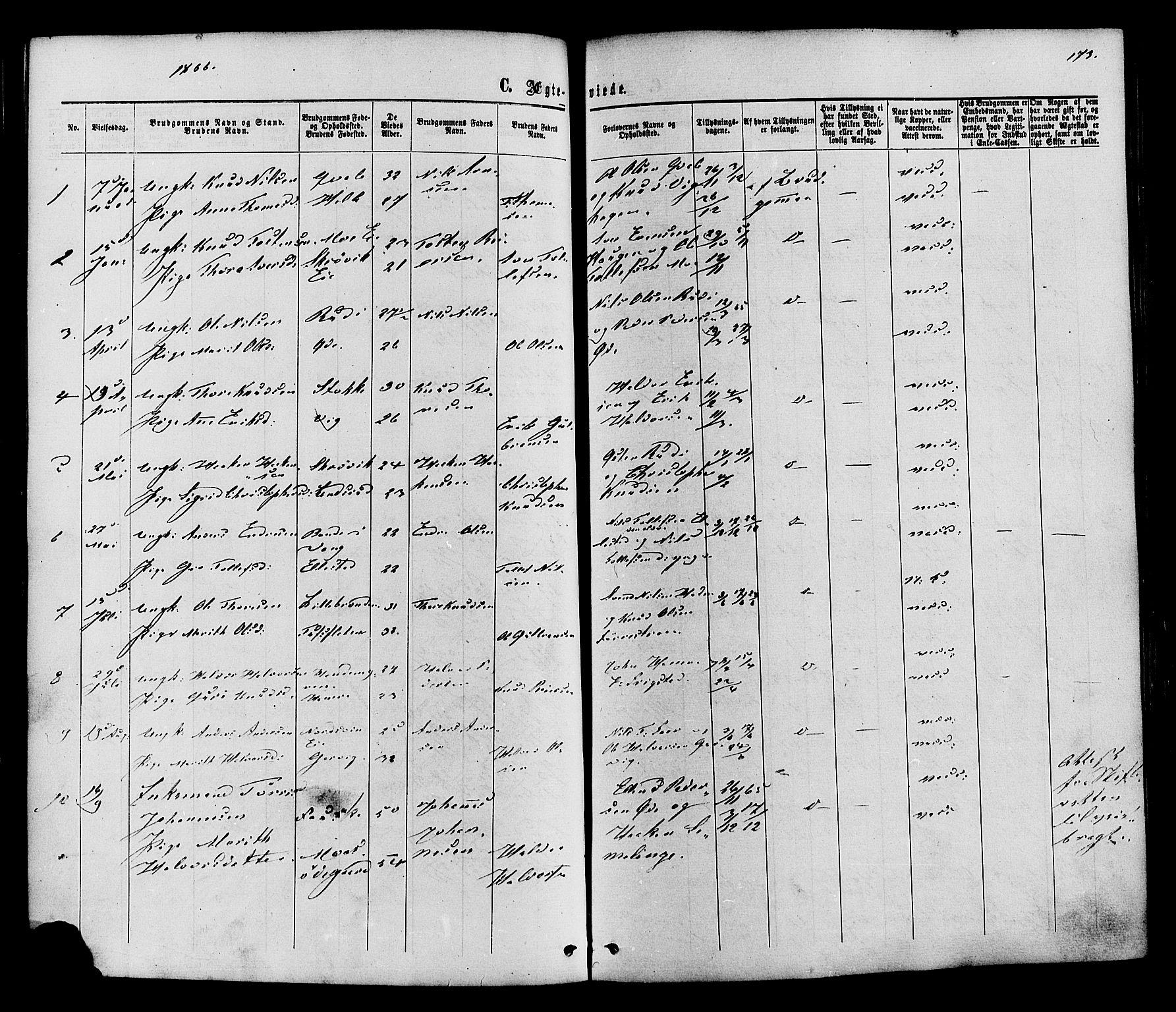 SAH, Vestre Slidre prestekontor, Ministerialbok nr. 3, 1865-1880, s. 173