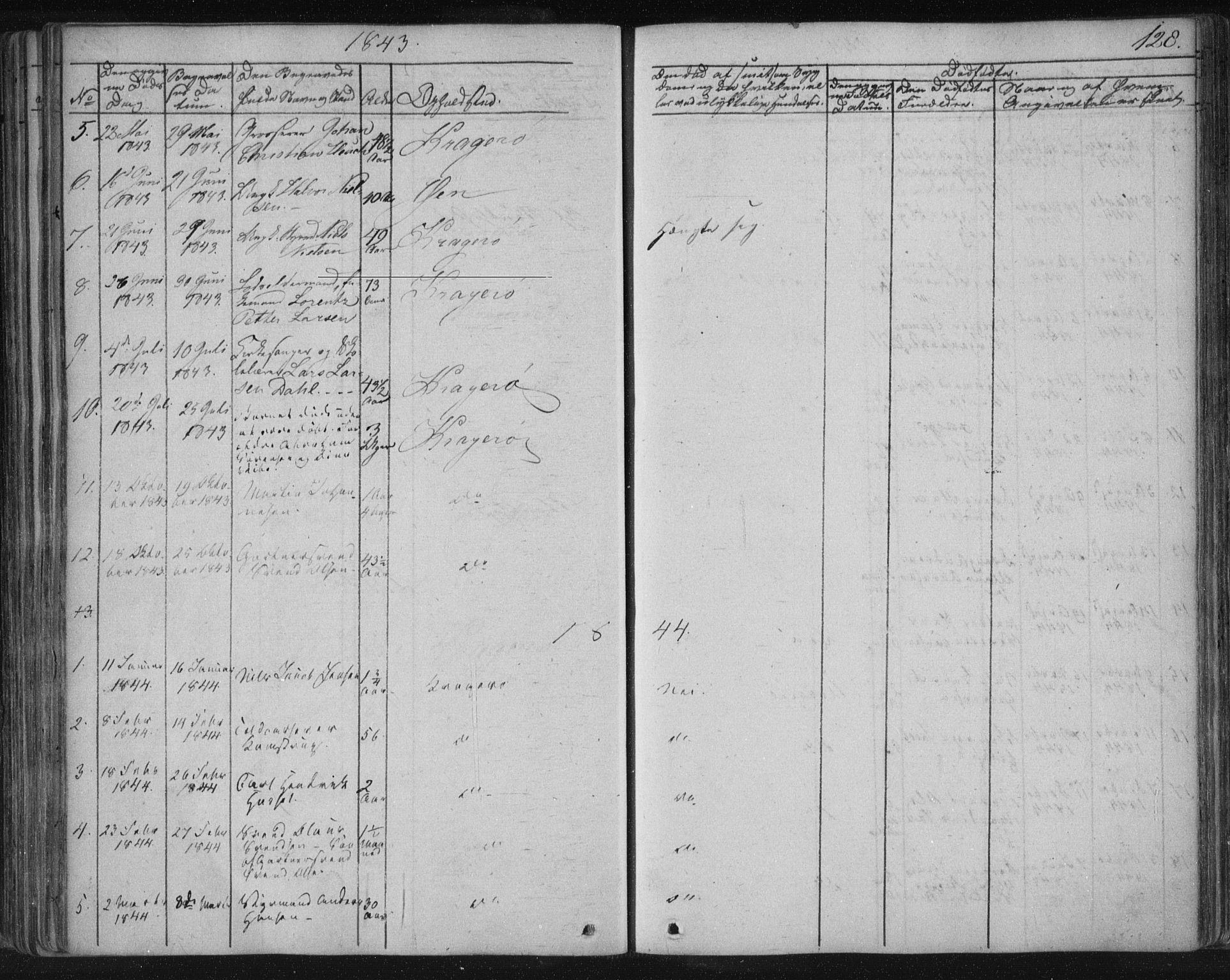 SAKO, Kragerø kirkebøker, F/Fa/L0005: Ministerialbok nr. 5, 1832-1847, s. 128