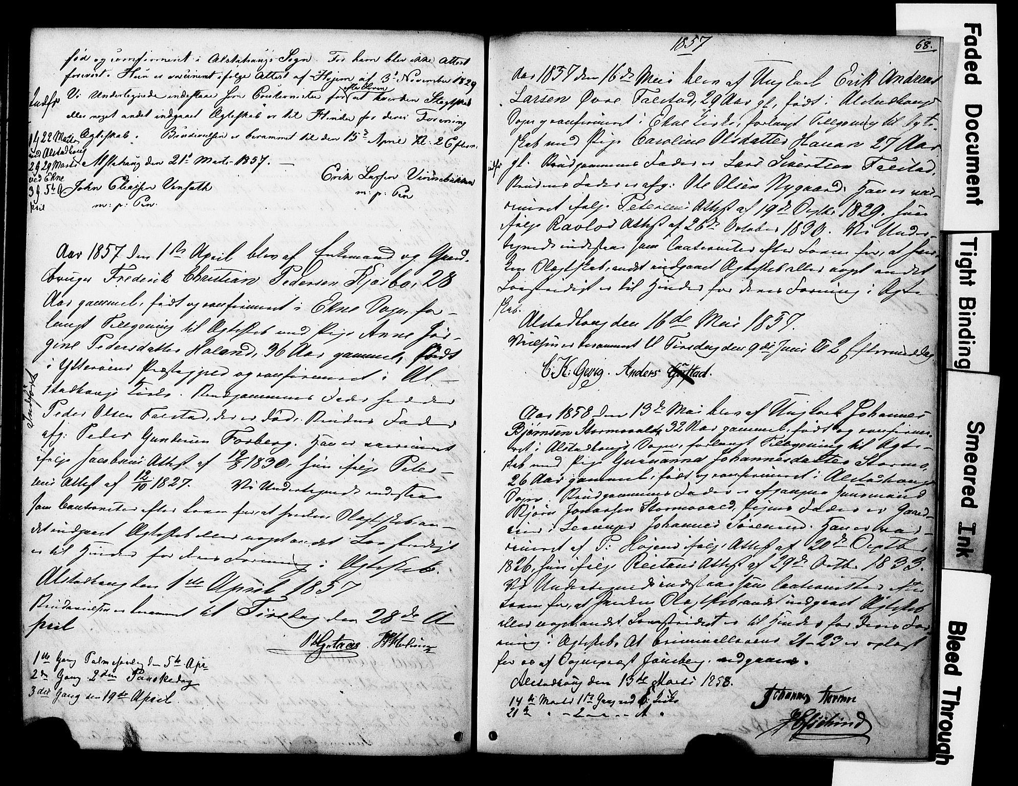 SAT, Ministerialprotokoller, klokkerbøker og fødselsregistre - Nord-Trøndelag, 717/L0161: Forlovererklæringer nr. 717A11, 1850-1895, s. 68
