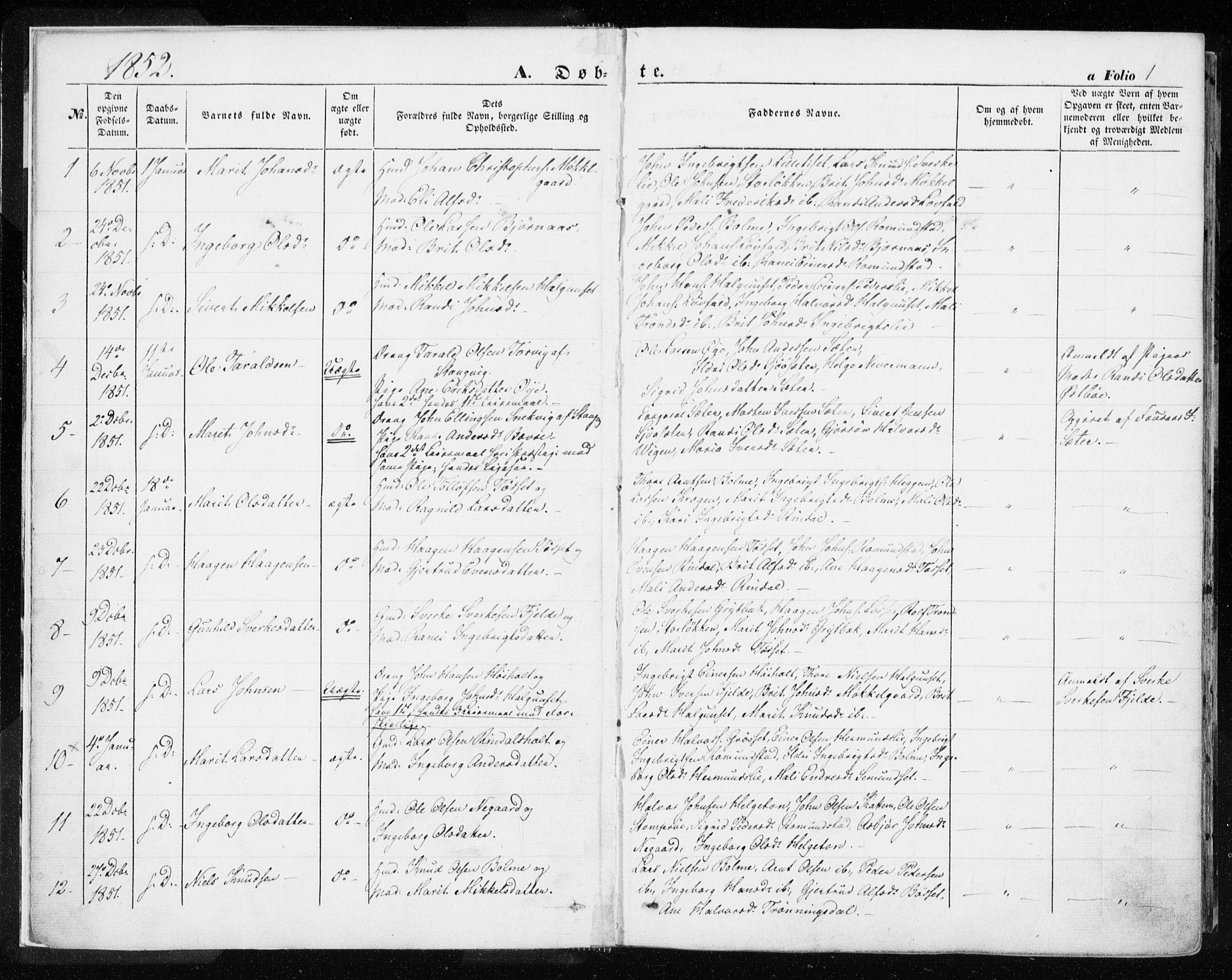 SAT, Ministerialprotokoller, klokkerbøker og fødselsregistre - Møre og Romsdal, 595/L1044: Ministerialbok nr. 595A06, 1852-1863, s. 1