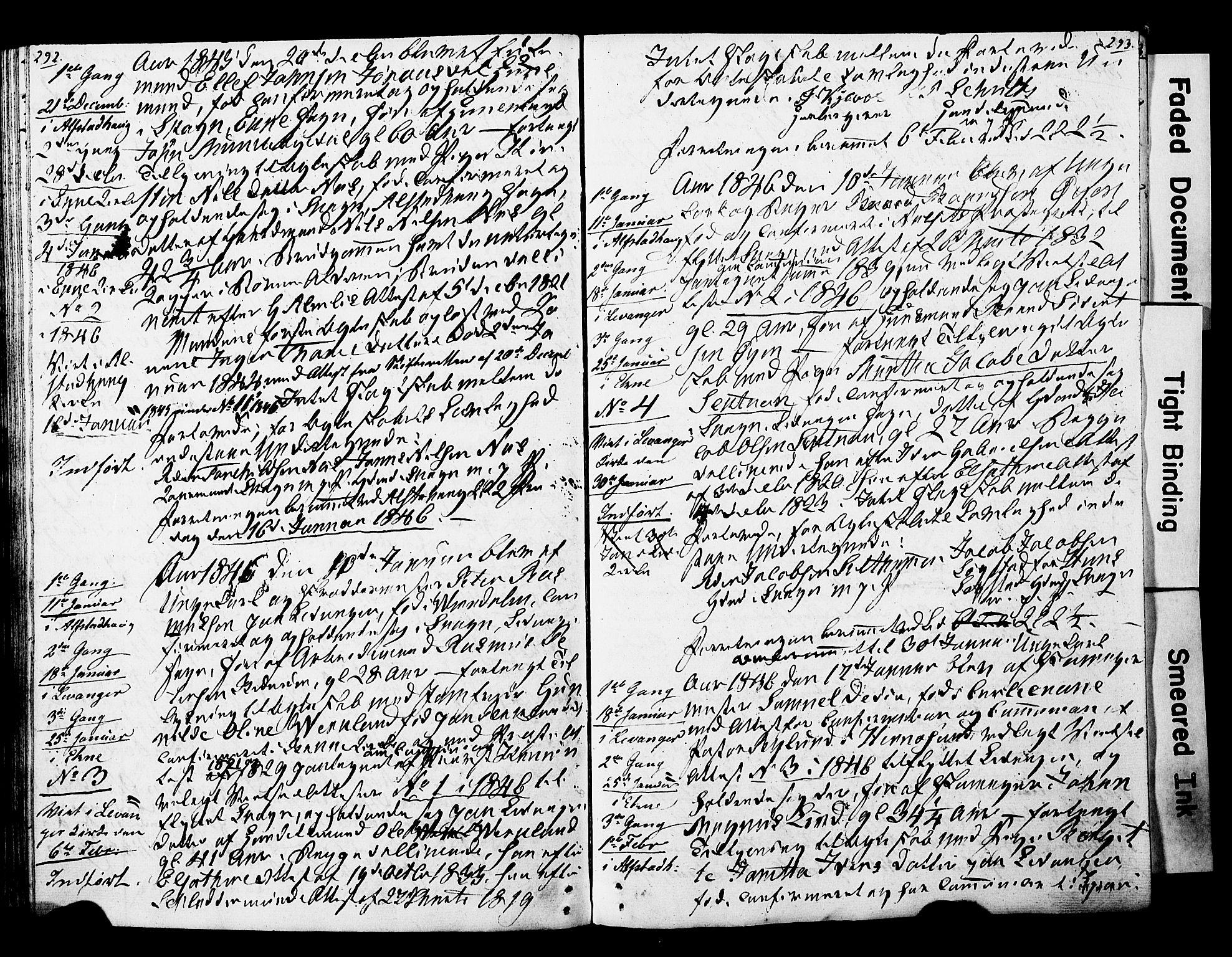 SAT, Ministerialprotokoller, klokkerbøker og fødselsregistre - Nord-Trøndelag, 717/L0160: Forlovererklæringer nr. 717A10, 1828-1850, s. 292-293