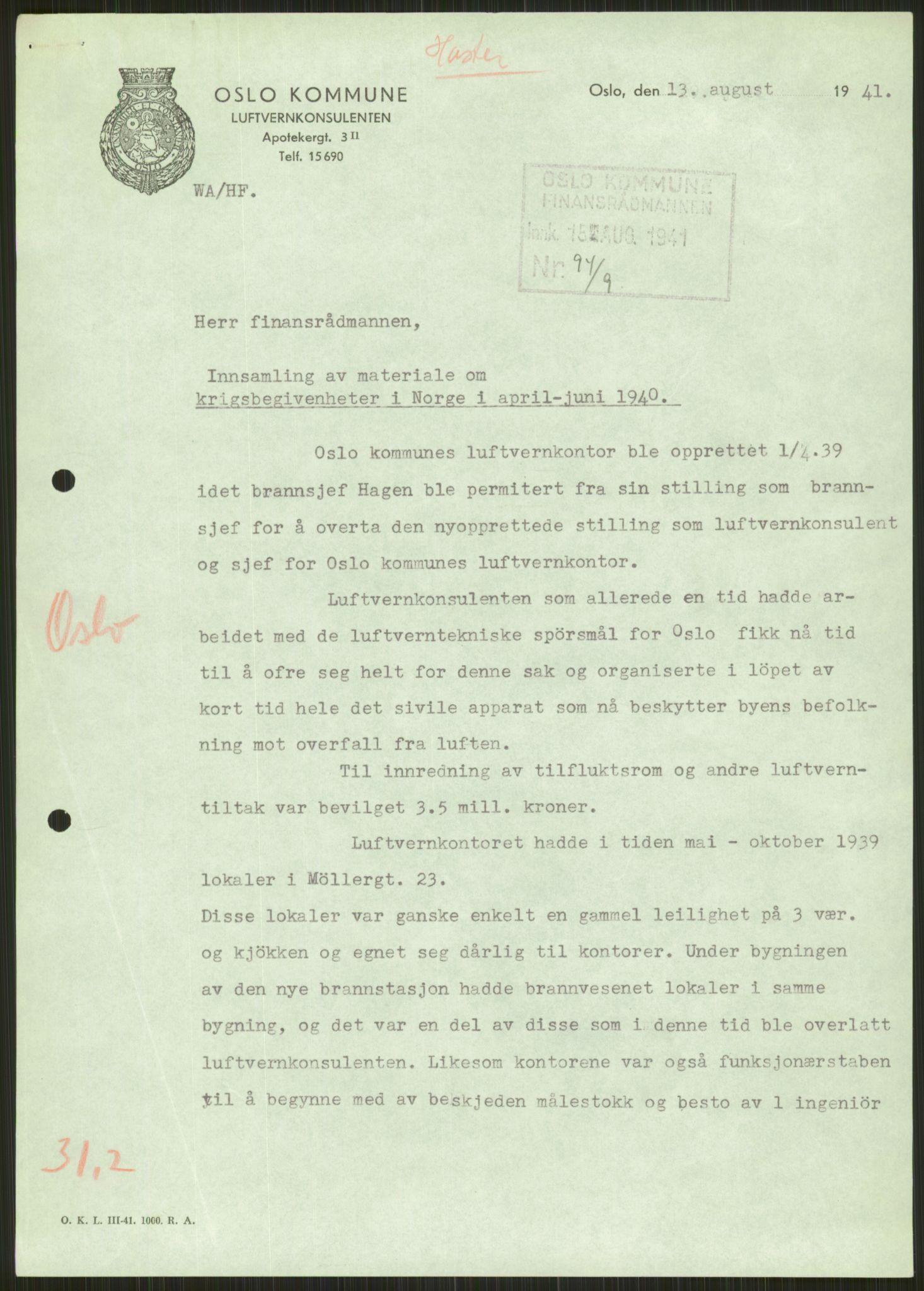 RA, Forsvaret, Forsvarets krigshistoriske avdeling, Y/Ya/L0013: II-C-11-31 - Fylkesmenn.  Rapporter om krigsbegivenhetene 1940., 1940, s. 551