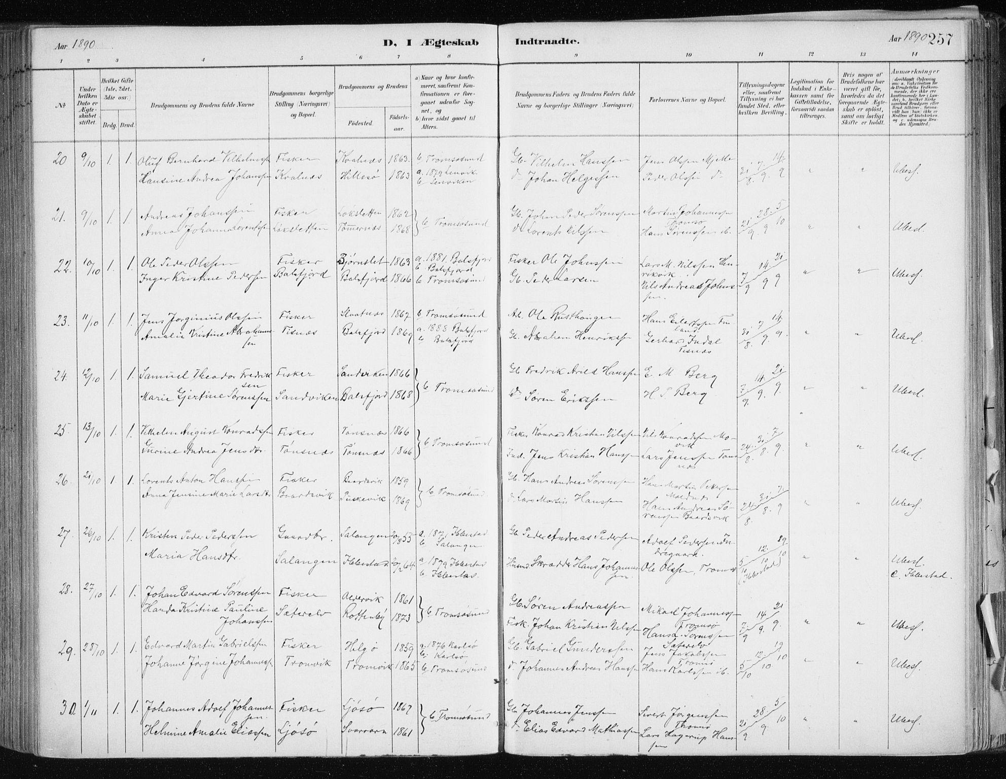 SATØ, Tromsøysund sokneprestkontor, G/Ga/L0005kirke: Ministerialbok nr. 5, 1888-1896, s. 257