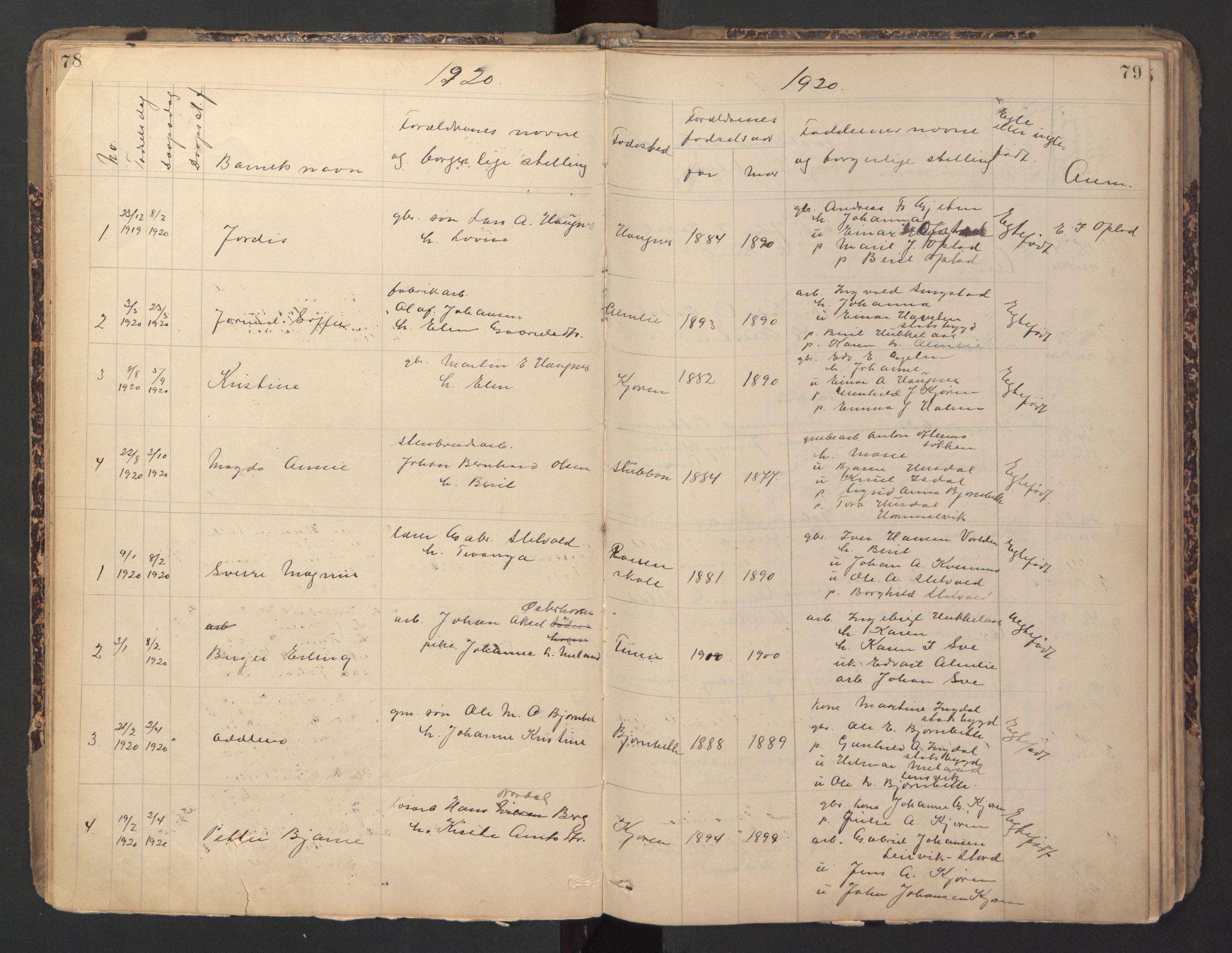 SAT, Ministerialprotokoller, klokkerbøker og fødselsregistre - Sør-Trøndelag, 670/L0837: Klokkerbok nr. 670C01, 1905-1946, s. 78-79