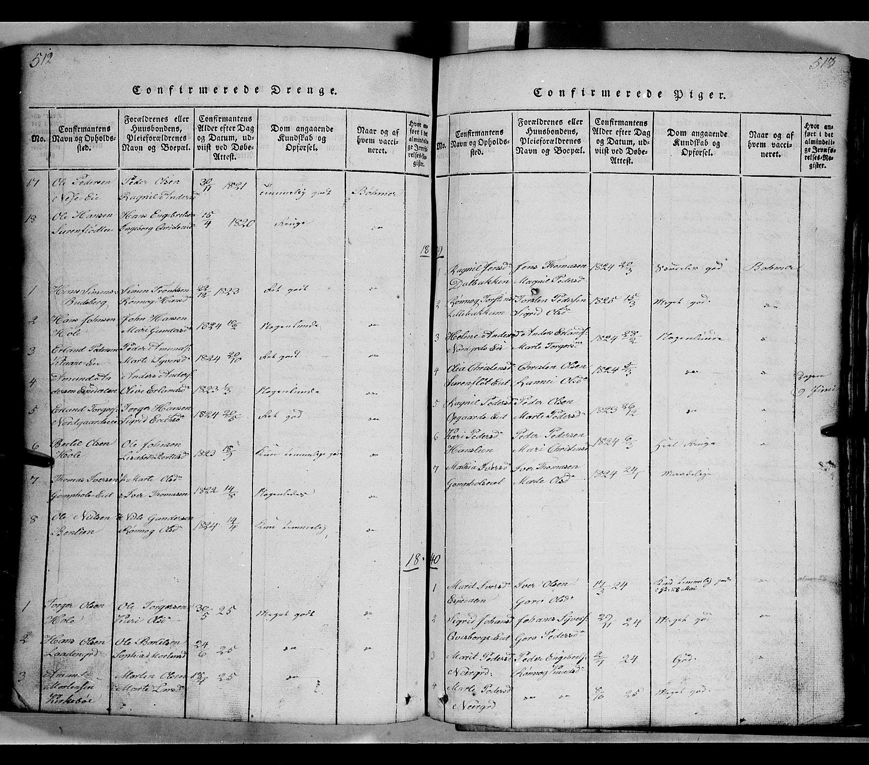 SAH, Gausdal prestekontor, Klokkerbok nr. 2, 1818-1874, s. 512-513
