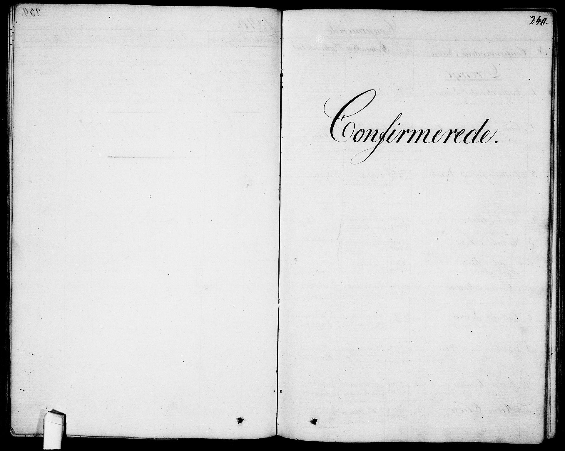 SAO, Garnisonsmenigheten Kirkebøker, G/Ga/L0004: Klokkerbok nr. 4, 1828-1840, s. 240