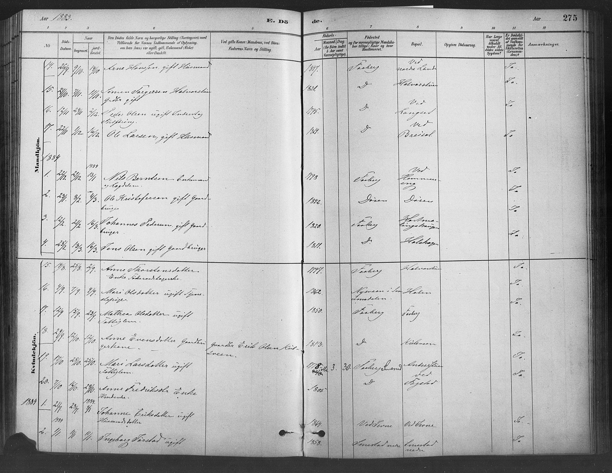 SAH, Fåberg prestekontor, Ministerialbok nr. 9, 1879-1898, s. 275