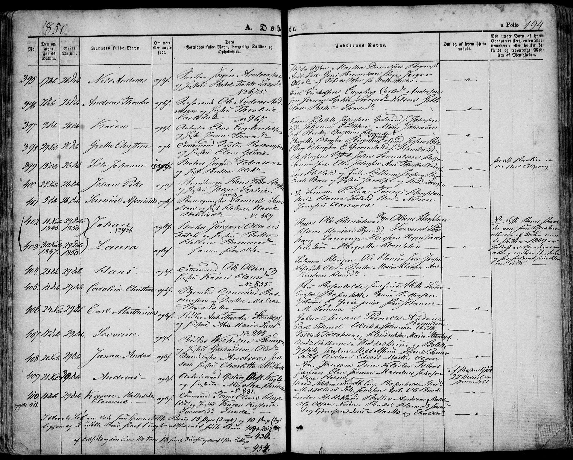 SAST, Domkirken sokneprestkontor, 30/30BA/L0016: Ministerialbok nr. A 15, 1844-1854, s. 194