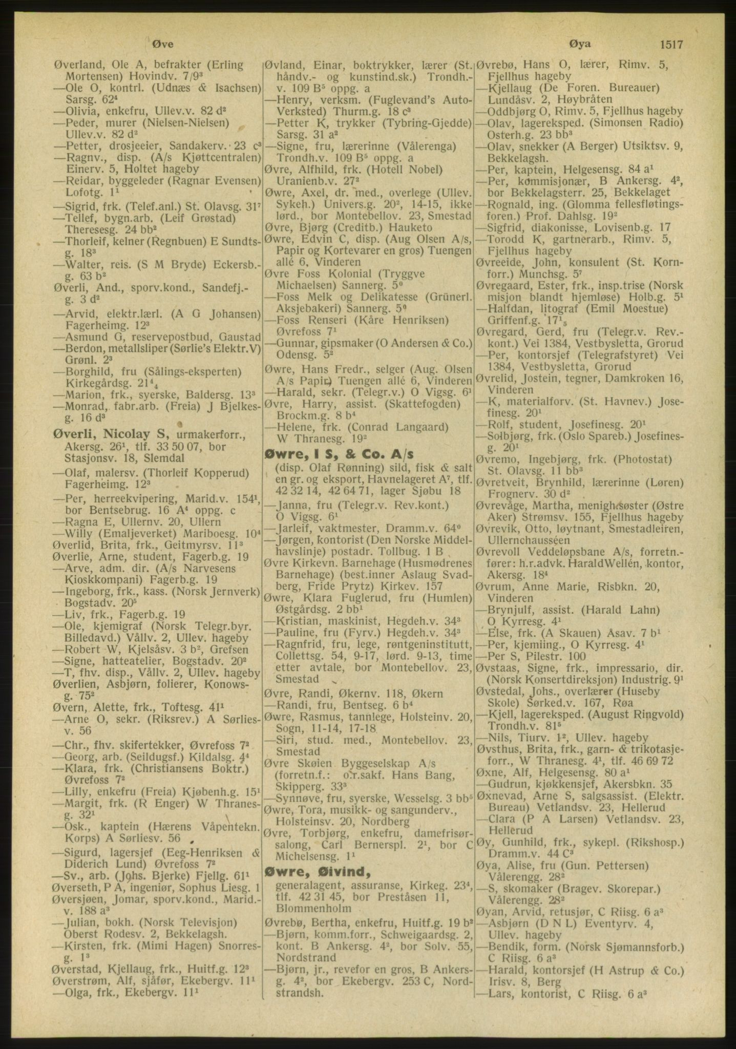 PUBL, Kristiania/Oslo adressebok, 1951, s. 1517