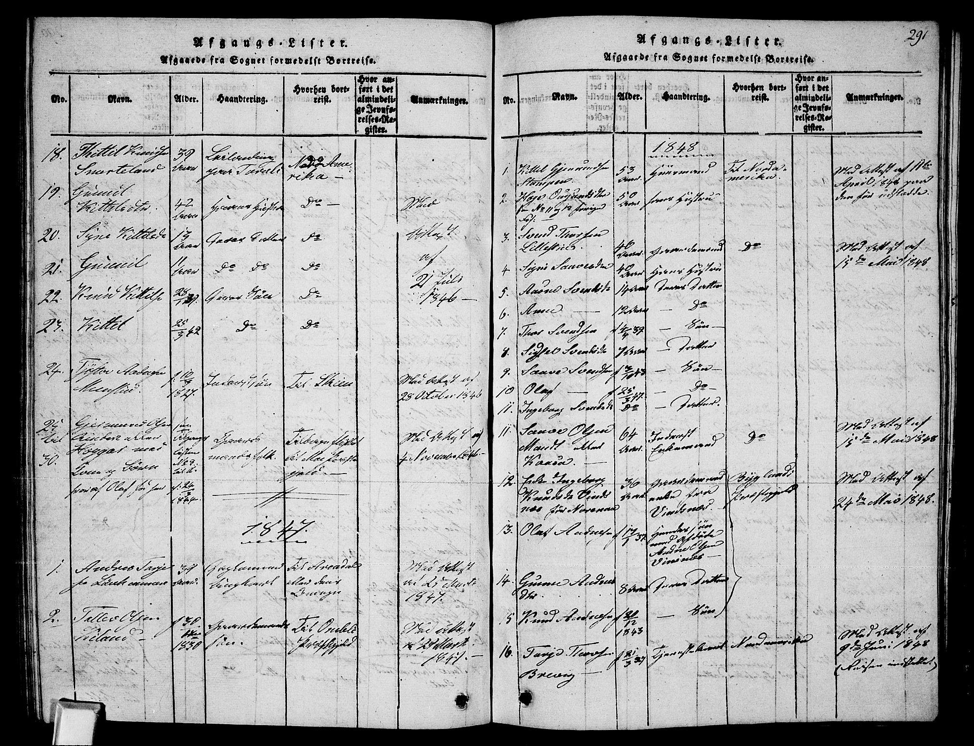 SAKO, Fyresdal kirkebøker, G/Ga/L0002: Klokkerbok nr. I 2, 1815-1857, s. 291