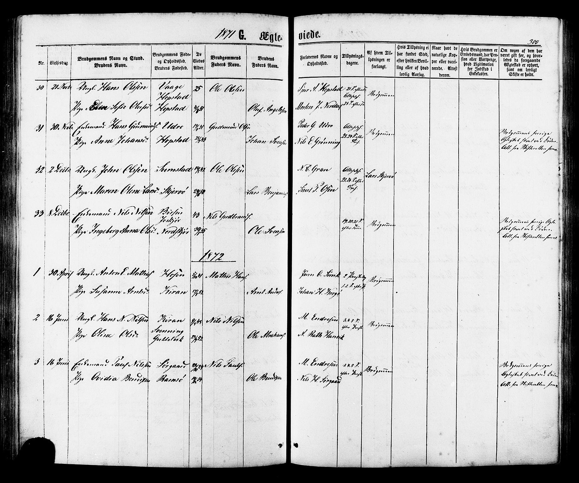 SAT, Ministerialprotokoller, klokkerbøker og fødselsregistre - Sør-Trøndelag, 657/L0706: Ministerialbok nr. 657A07, 1867-1878, s. 300