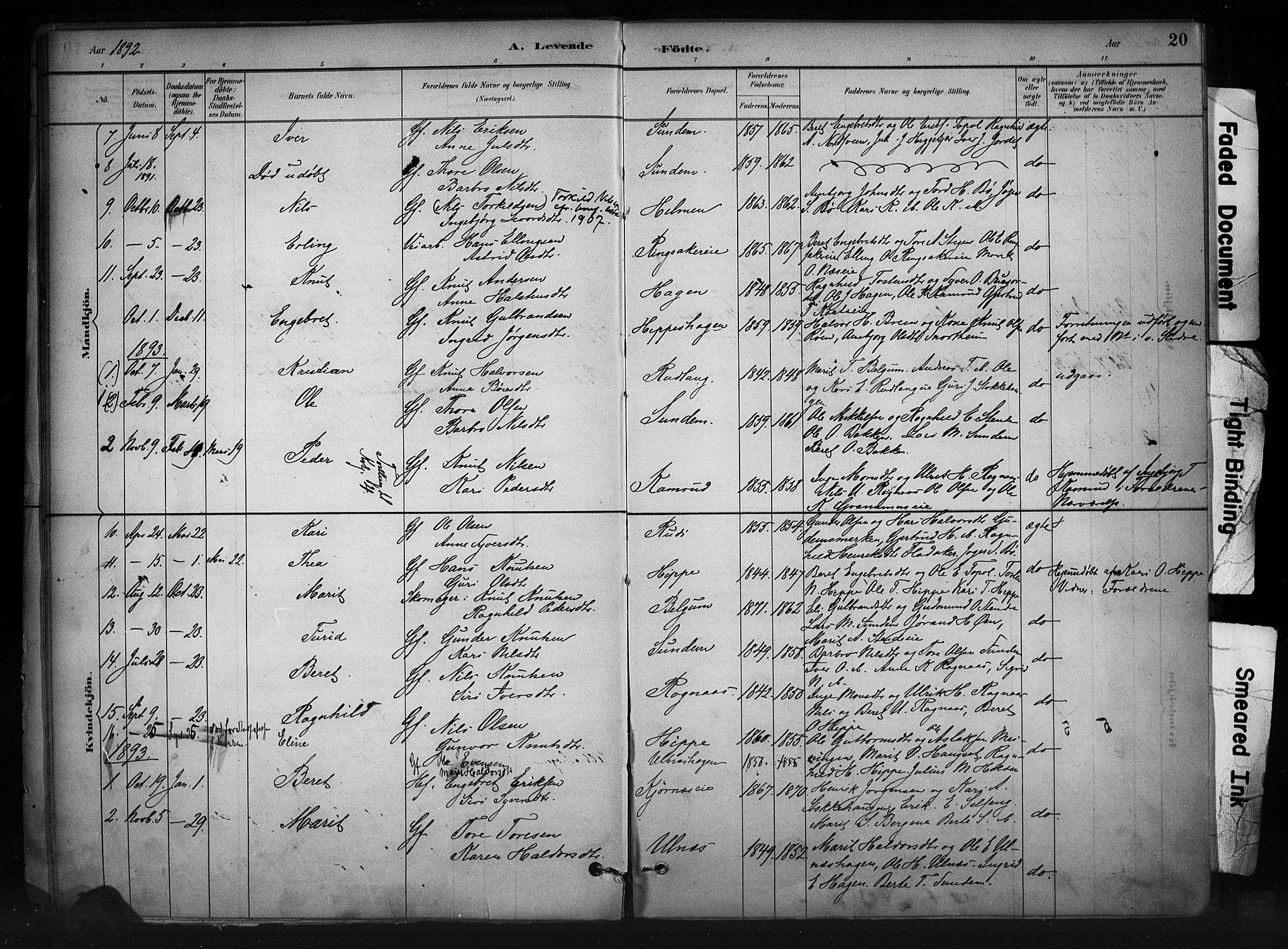 SAH, Nord-Aurdal prestekontor, Ministerialbok nr. 11, 1883-1896, s. 20