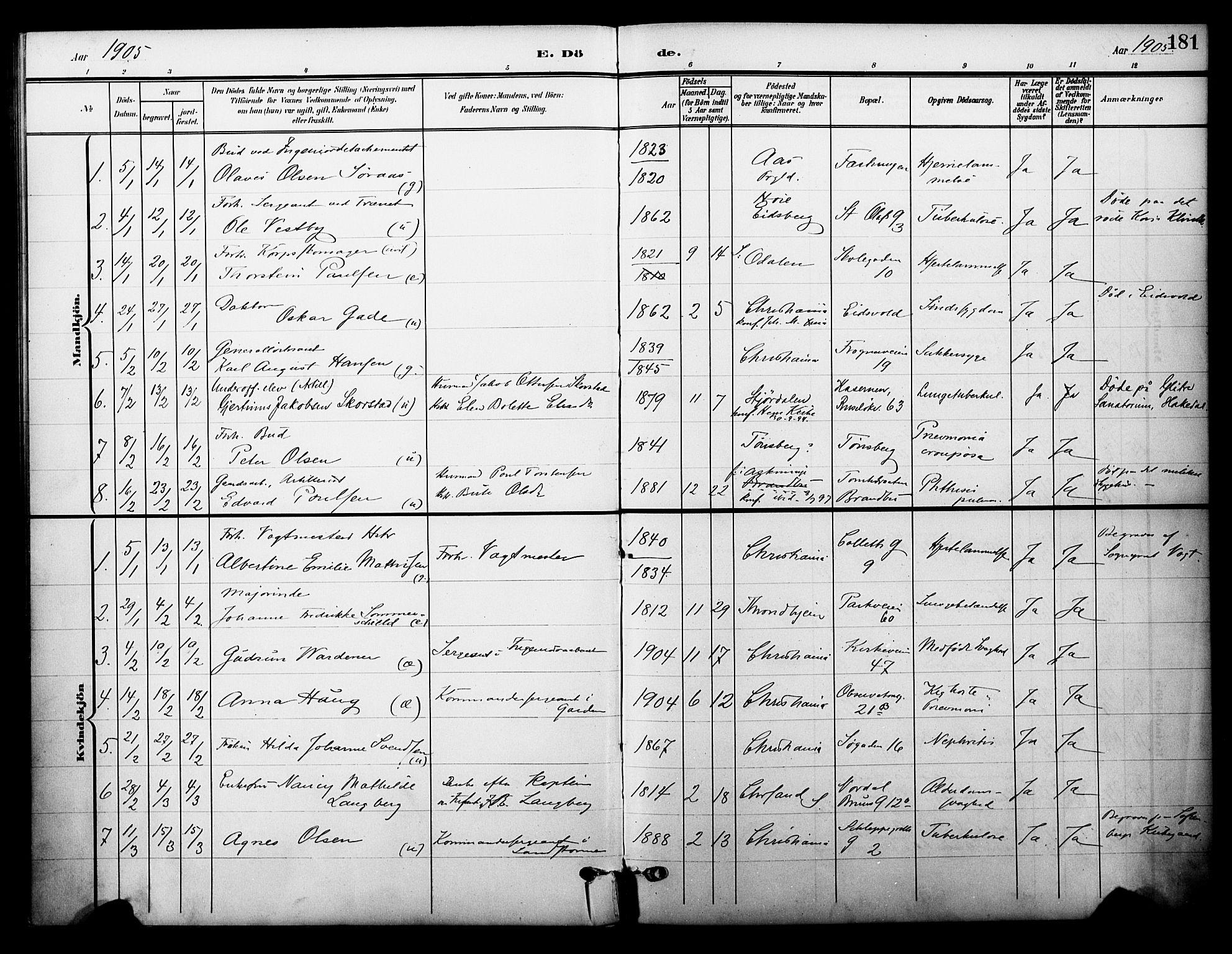 SAO, Garnisonsmenigheten Kirkebøker, F/Fa/L0014: Ministerialbok nr. 14, 1905-1914, s. 181