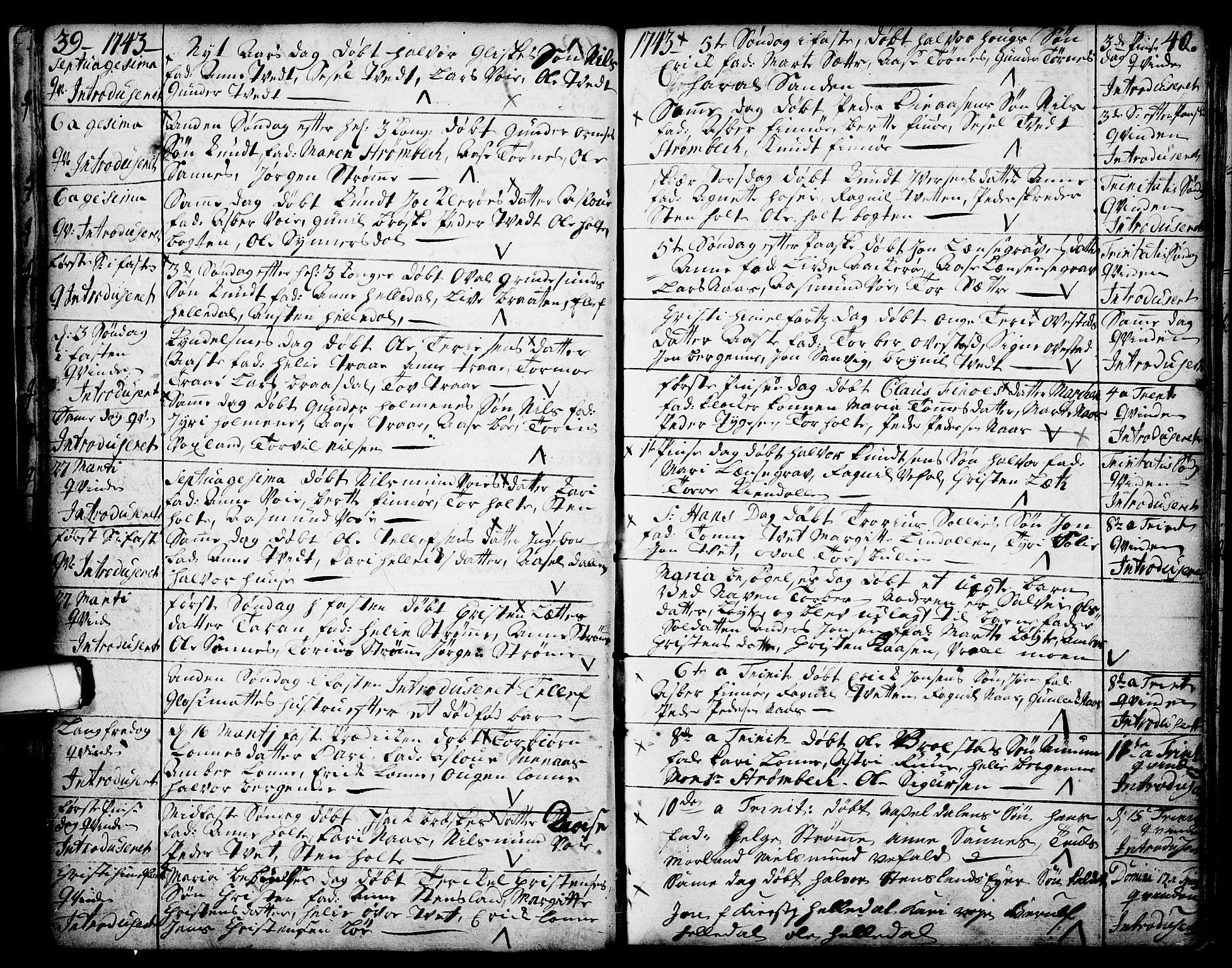 SAKO, Drangedal kirkebøker, F/Fa/L0002: Ministerialbok nr. 2, 1733-1753, s. 39-40