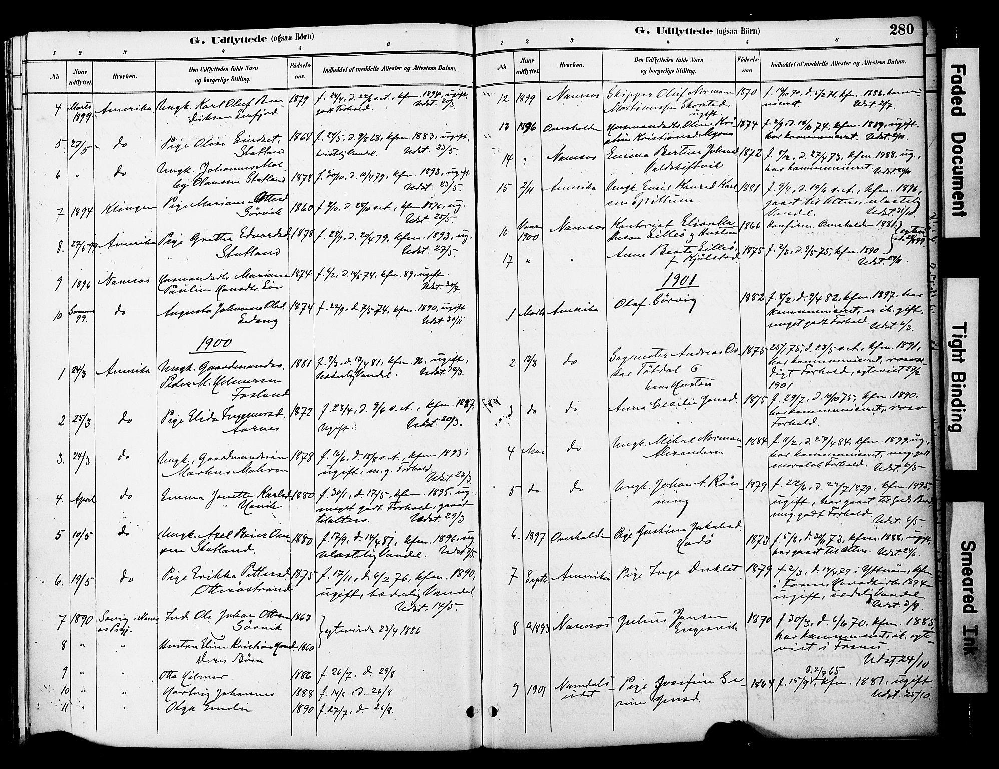 SAT, Ministerialprotokoller, klokkerbøker og fødselsregistre - Nord-Trøndelag, 774/L0628: Ministerialbok nr. 774A02, 1887-1903, s. 280
