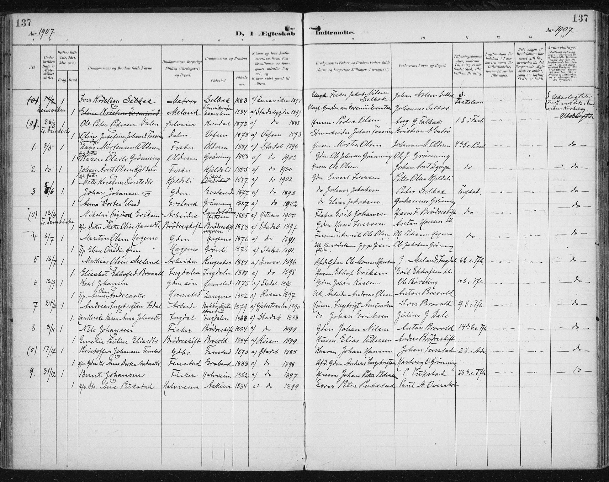 SAT, Ministerialprotokoller, klokkerbøker og fødselsregistre - Sør-Trøndelag, 646/L0616: Ministerialbok nr. 646A14, 1900-1918, s. 137