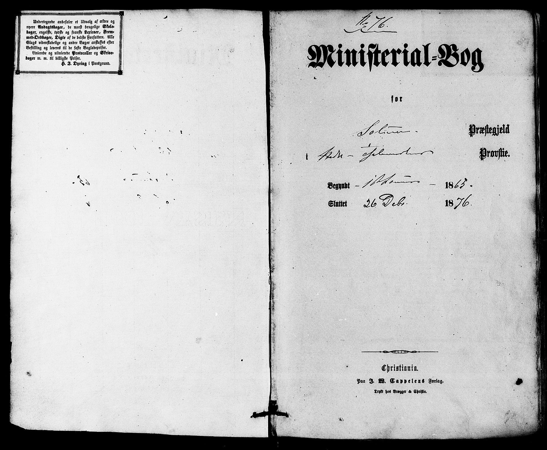 SAKO, Solum kirkebøker, F/Fa/L0008: Ministerialbok nr. I 8, 1865-1876